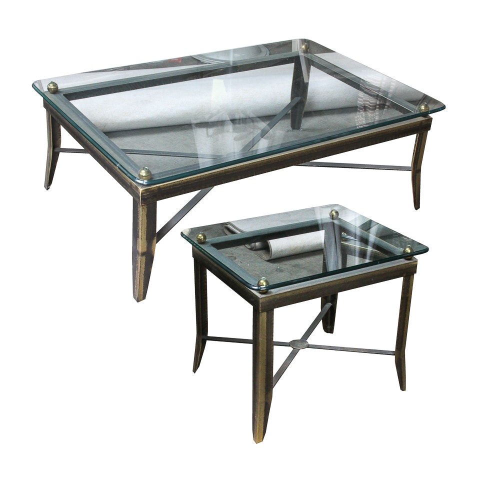 Glass Top Metal Coffee Table and Side Table