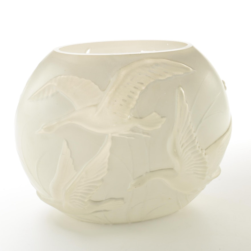 Phoenix Glass Company Flying Geese Vase Ebth