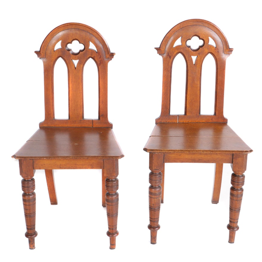 Pair of English Gothic Revival side chairs, 19th century, $200 – $400 via  Garth's Auctioneers & Appraisers.