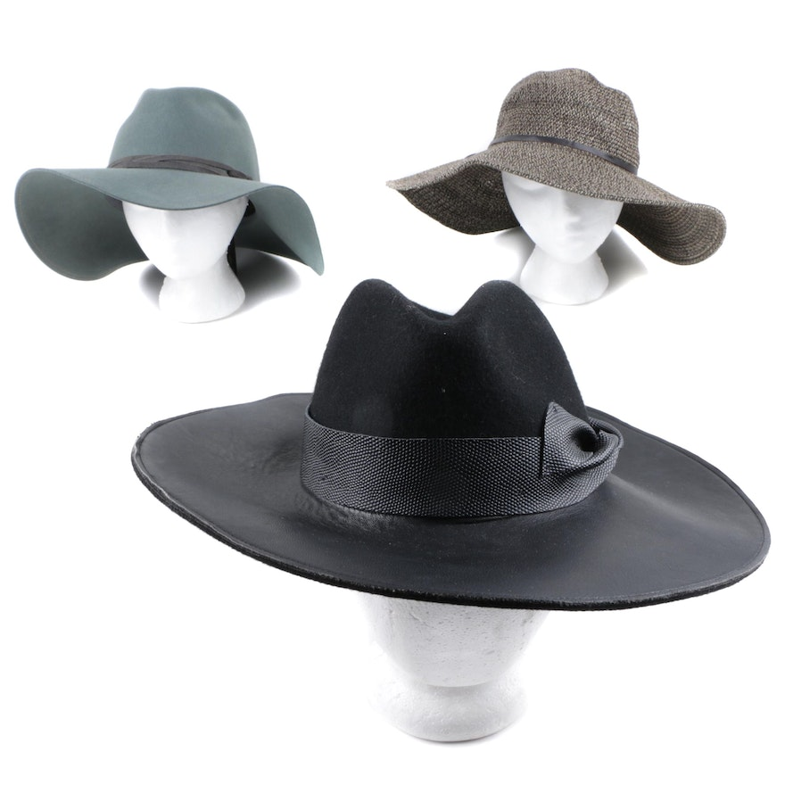 b775d9580aad5 Goorin Bros. Wide Brimmed Hats Featuring Leather   EBTH