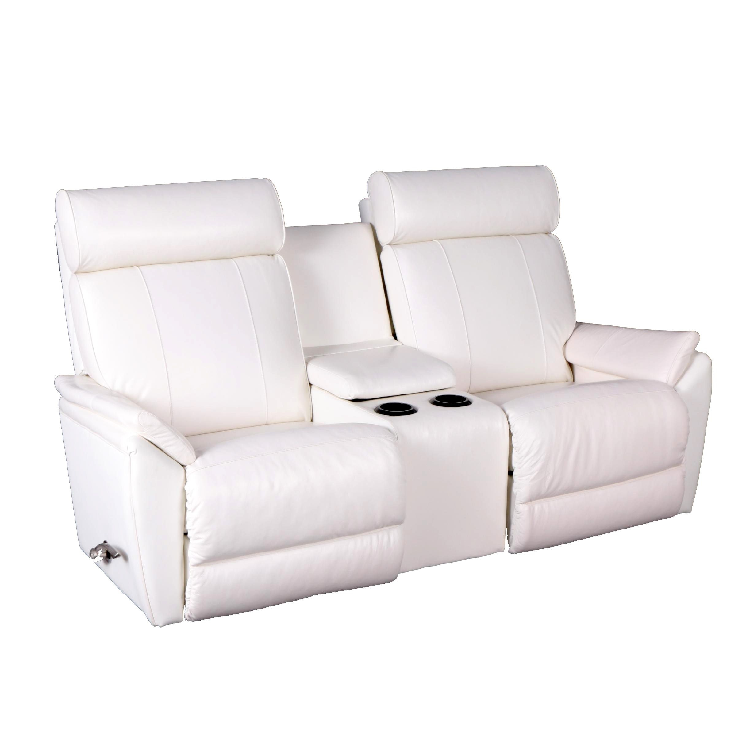 La Z Boy White Leather Reclining Sofa With Center Console ...