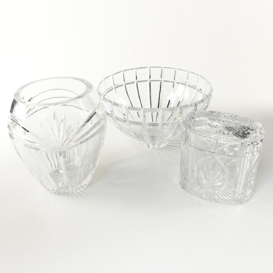 Crystal Vase Bowl And Box Including Marquis By Waterford Ebth