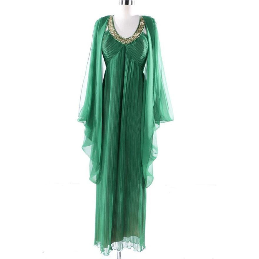 45b0faee333 Vintage Jack Bryan Embellished Green Chiffon Evening Gown   EBTH