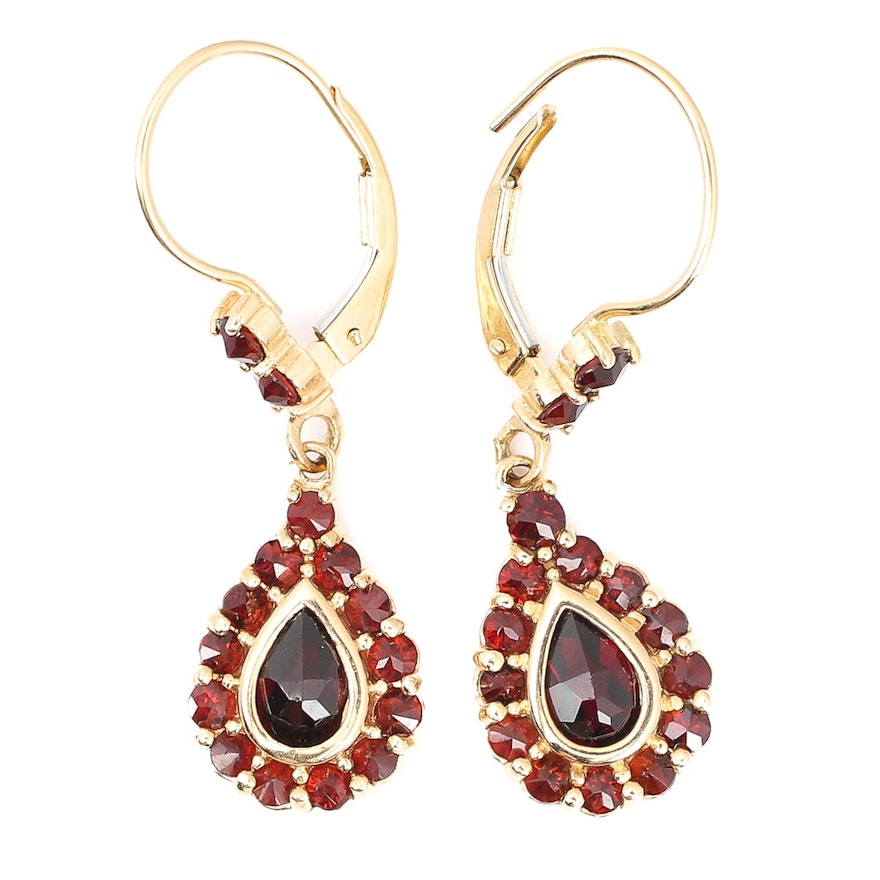 14k Yellow Gold Garnet Drop Earrings