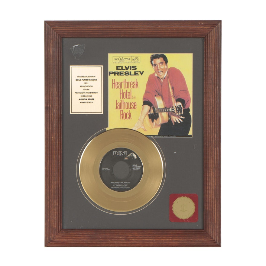 Elvis Presley 24K Gold Plated Record \