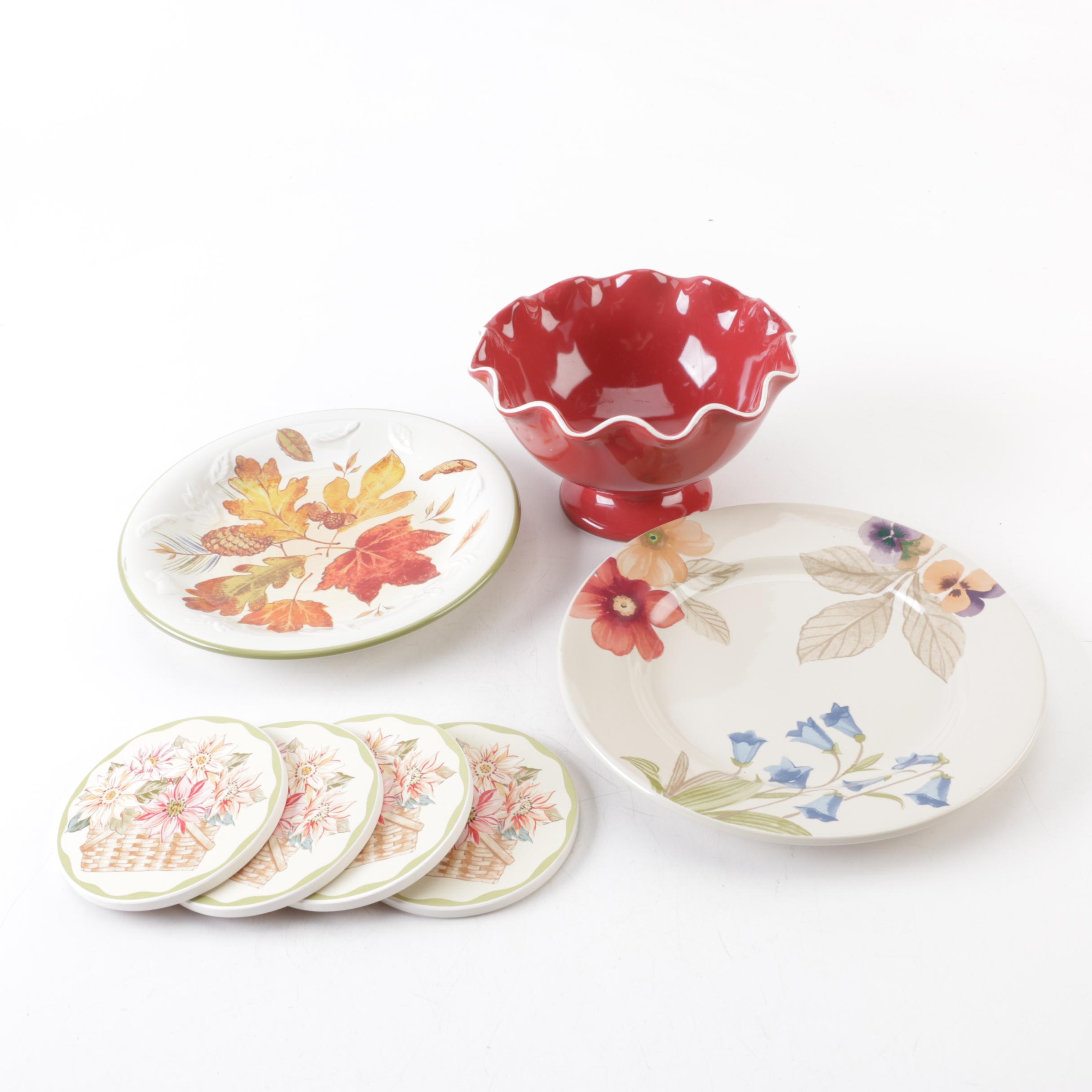 sc 1 st  EBTH.com & Longaberger Pottery Patterned Plates Red Ruffle Bowl and Coasters ...