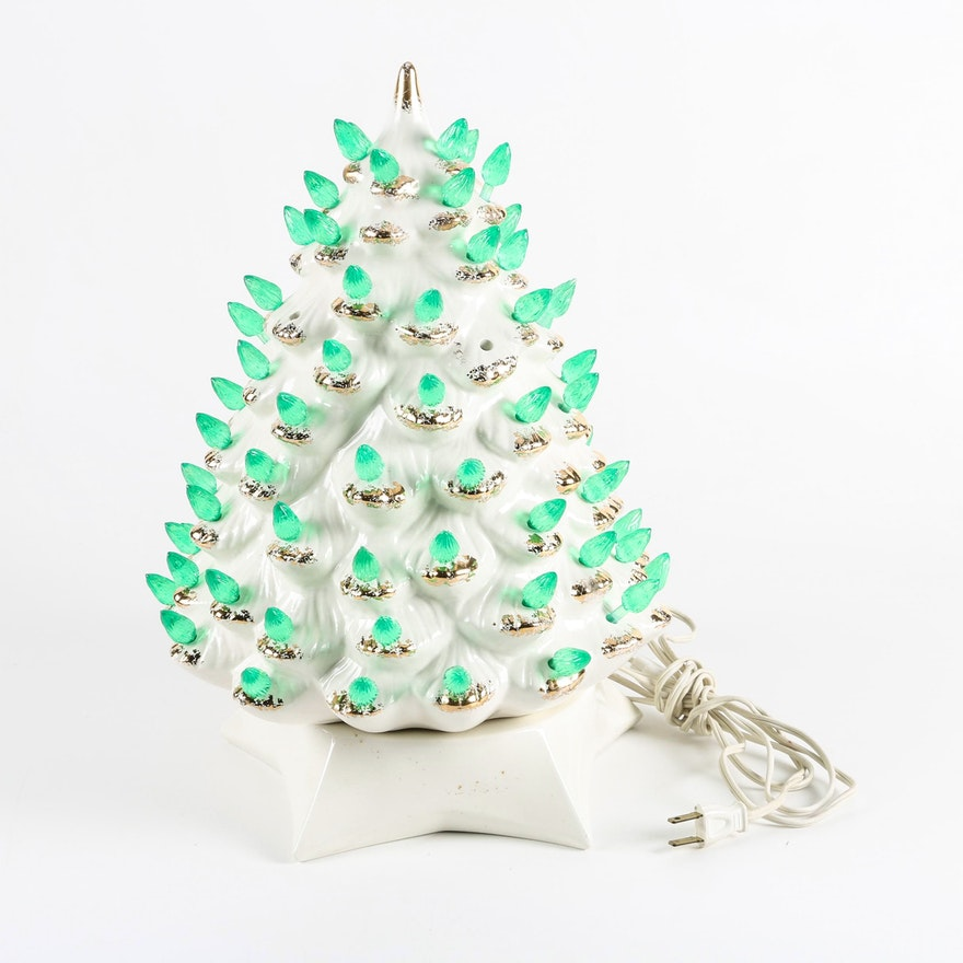 Vintage White Glazed Ceramic Christmas Tree With Green Lights Ebth