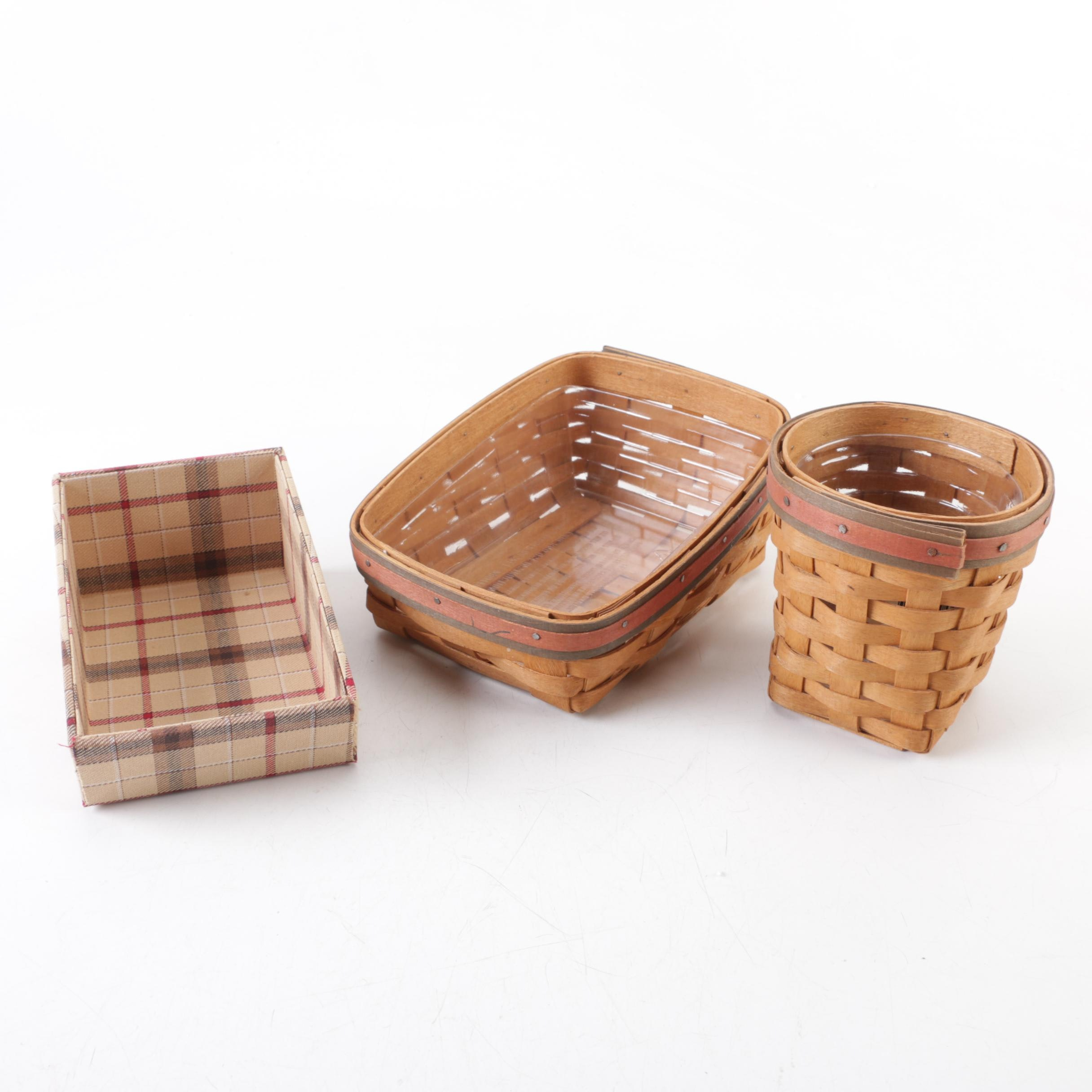Longeberger Woven Cotton and Wood Baskets