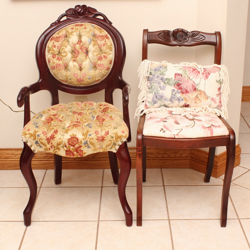 Vintage Victorian Style Armchair and Side Chair