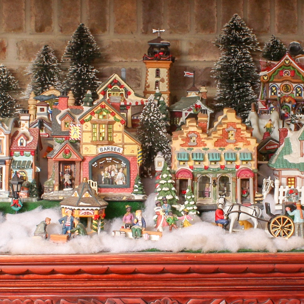 Large Collection of Christmas Village Decor