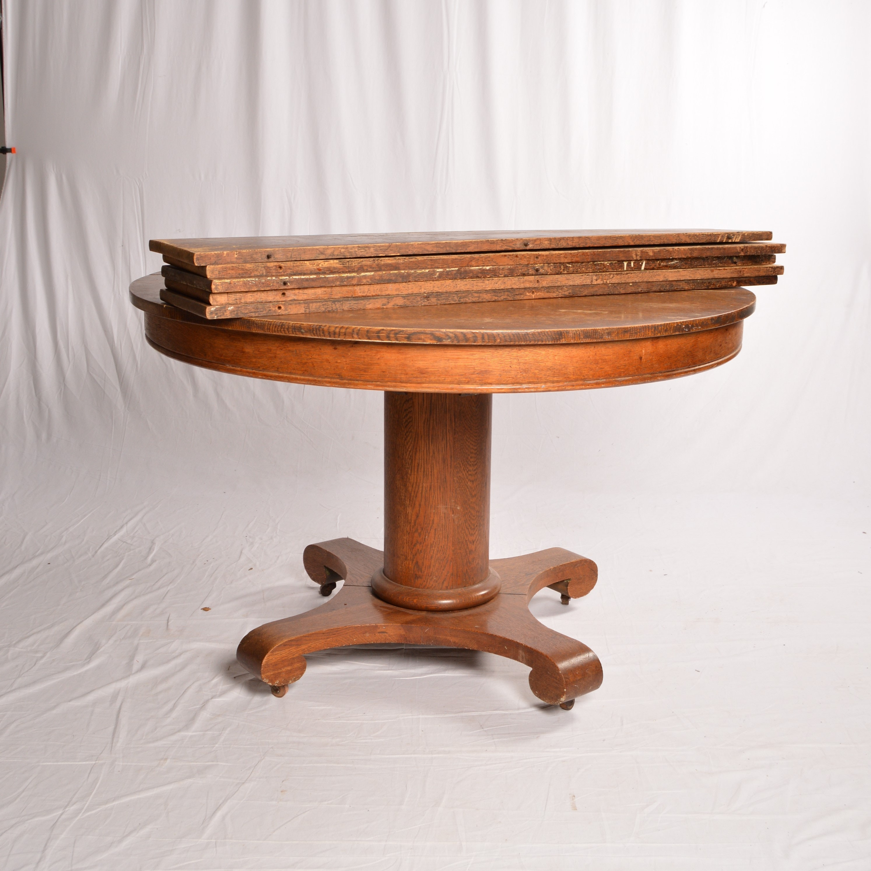 Antique Oak Pedestal Dining Table ...