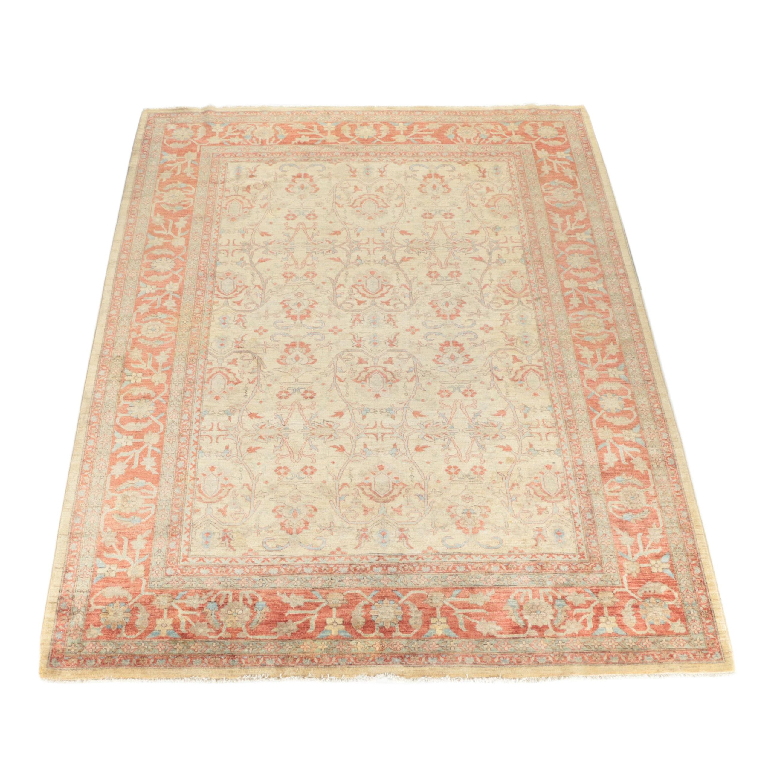 Hand-Knotted Indo-Persian Peshawar Area Rug
