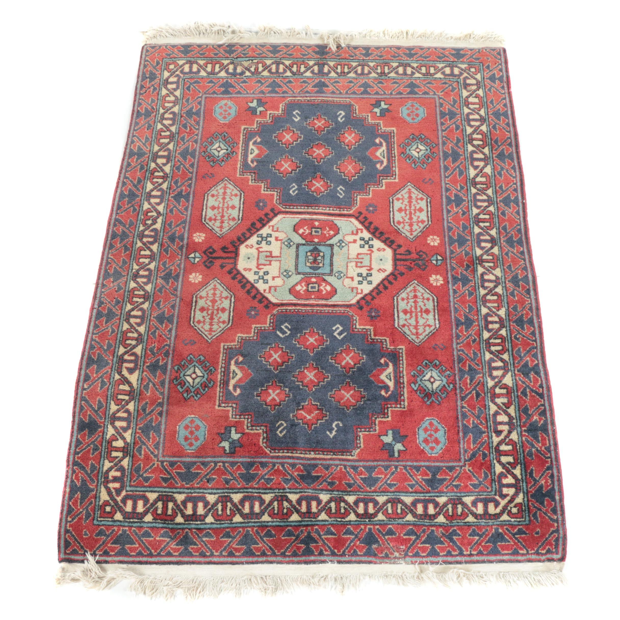 Vintage Hand-Knotted Caucasian Kazak Wool Area Rug