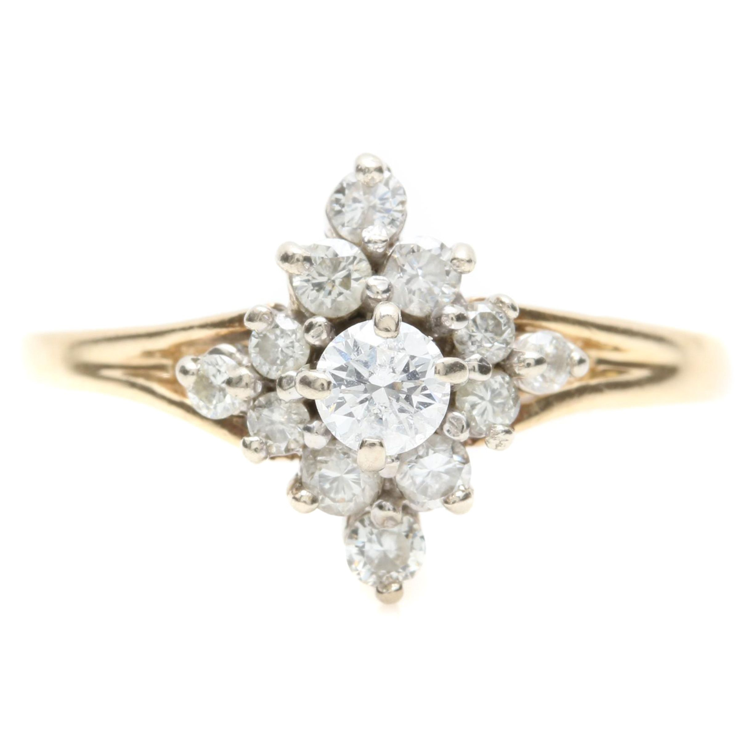14K Yellow Gold Diamond Cluster Ring with White Gold Accents