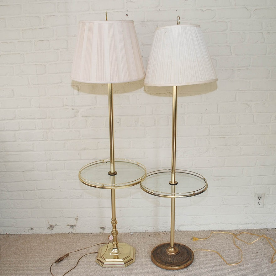 Brass and glass tray table floor lamps ebth brass and glass tray table floor lamps mozeypictures Choice Image