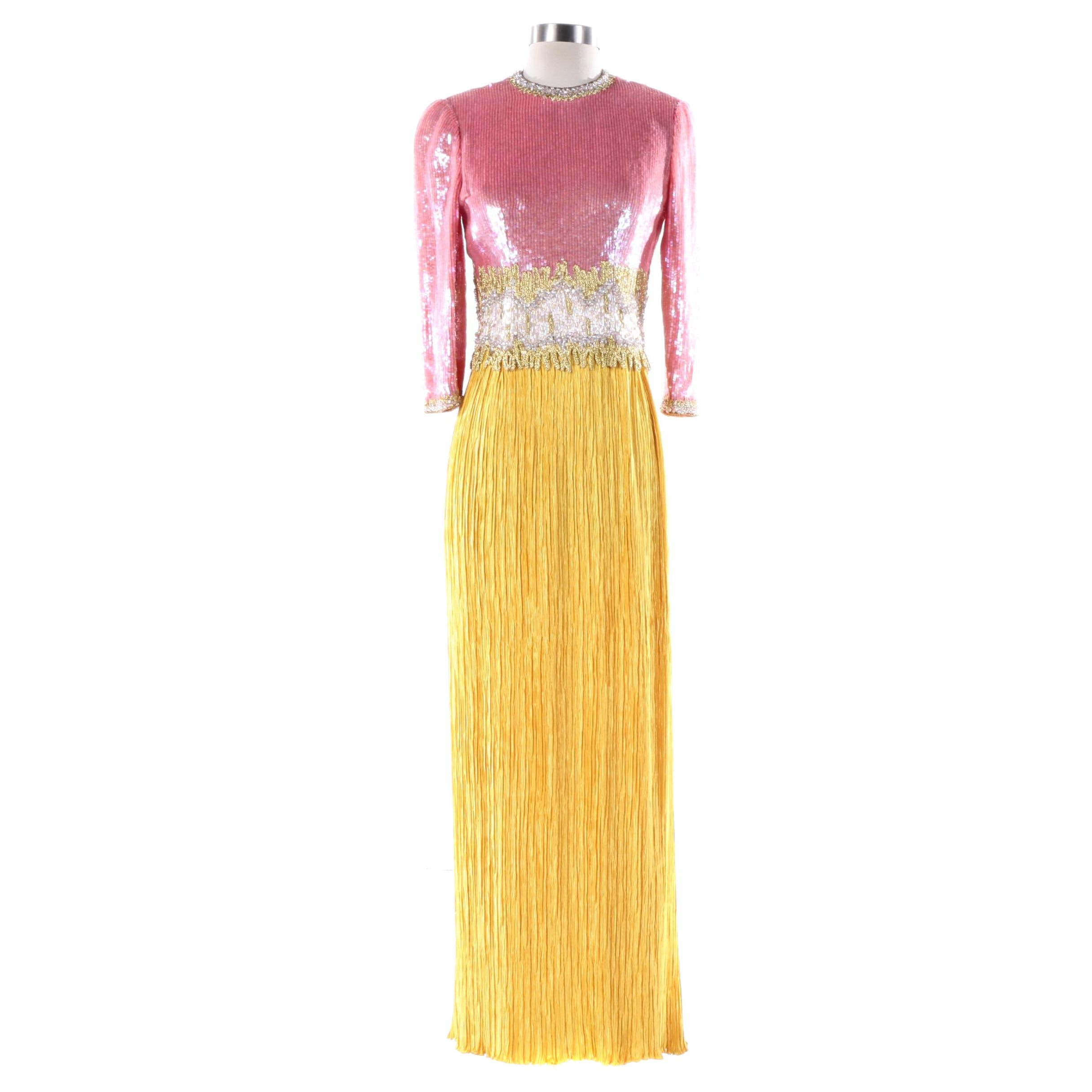1980s Vintage Mary McFadden Couture Pink Sequin and Gold Pleat Evening Gown