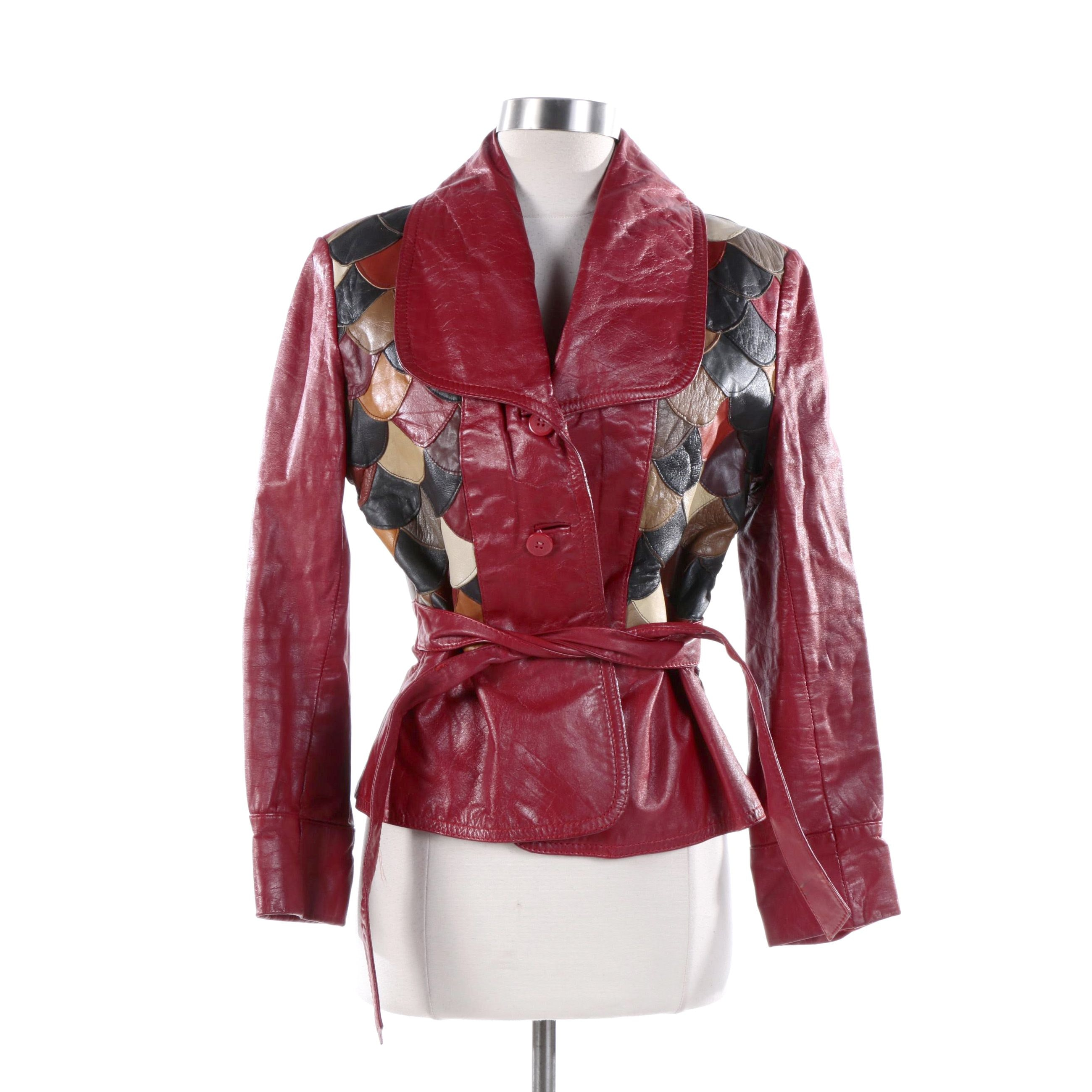 1970s Vintage Faci-Eon Avenue Red Leather Patchwork Jacket with Detailed Back