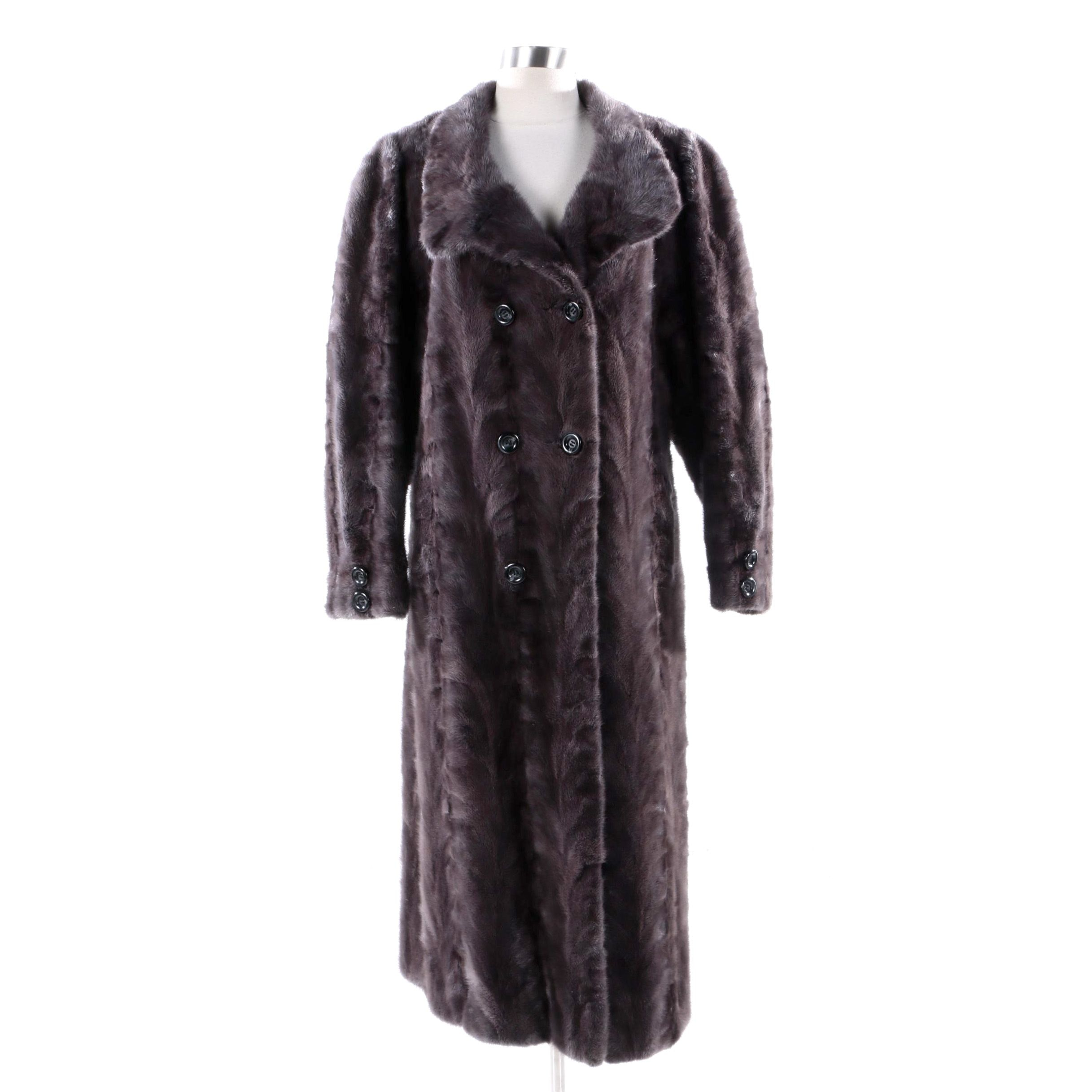 Women's Vintage Double-Breasted Mink Paw Fur Coat