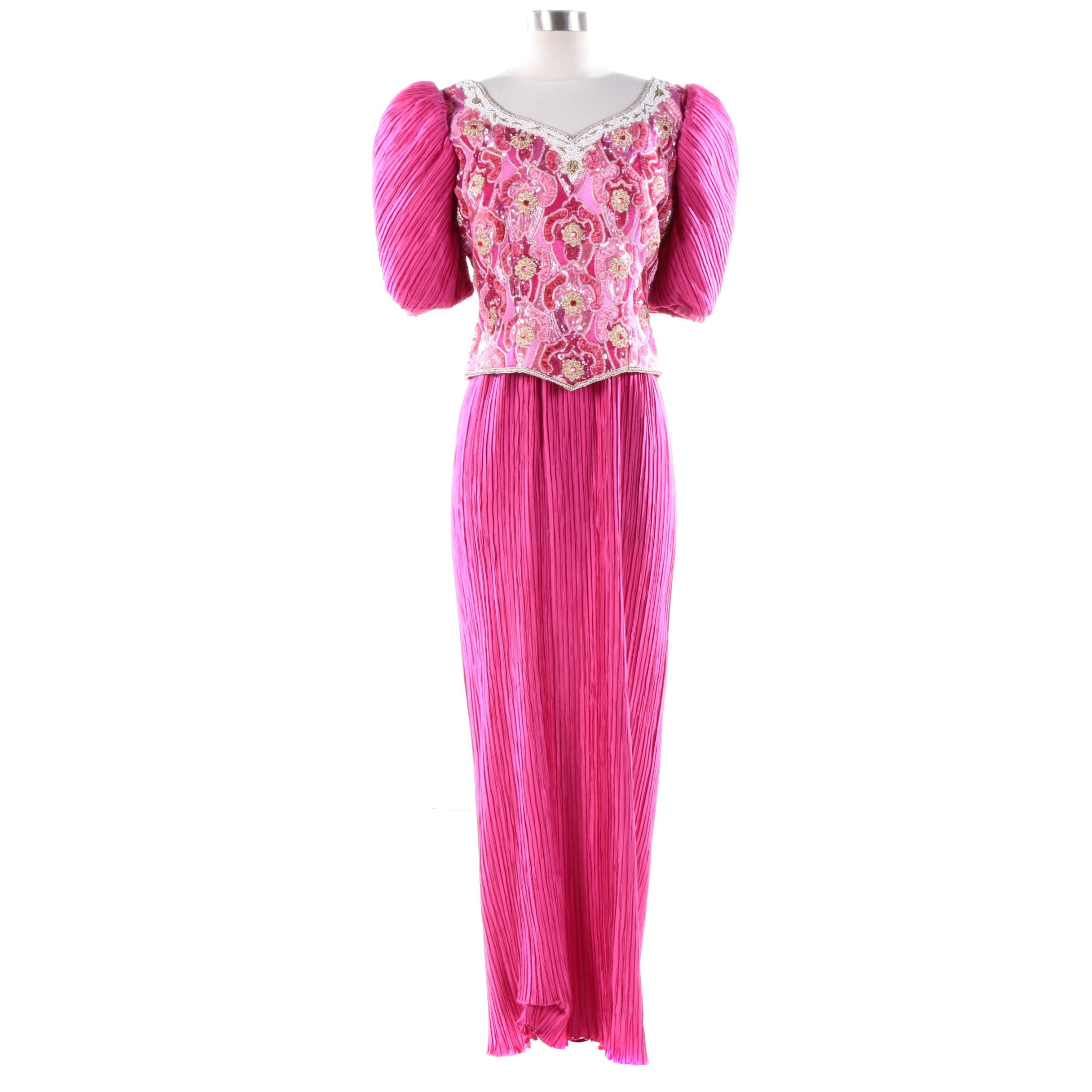 1980s Vintage Pink Pleated and Beaded Maxi Evening Dress