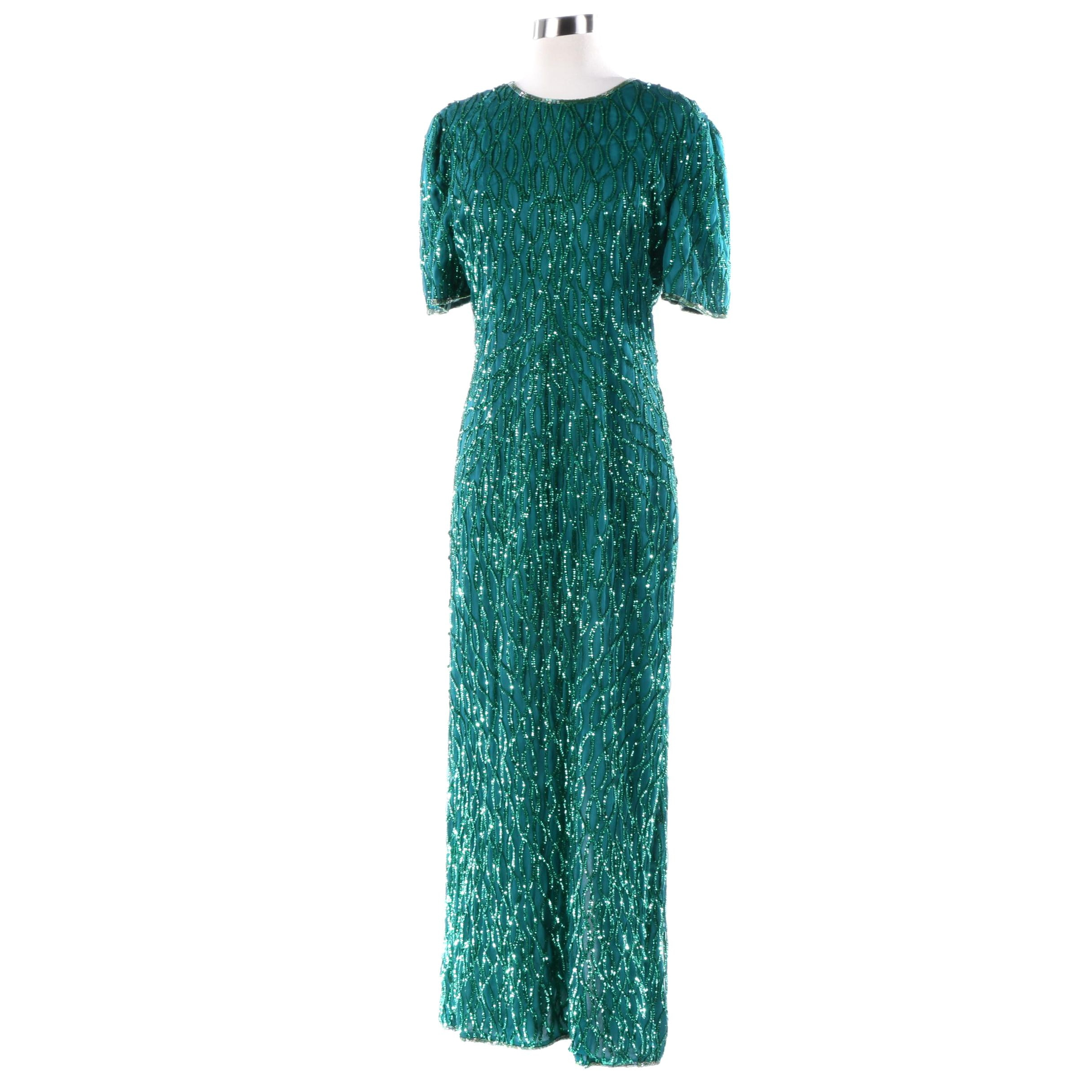 1980s Vintage Lawrence Kazar Emerald Green Sequin and Beaded Silk Evening Dress