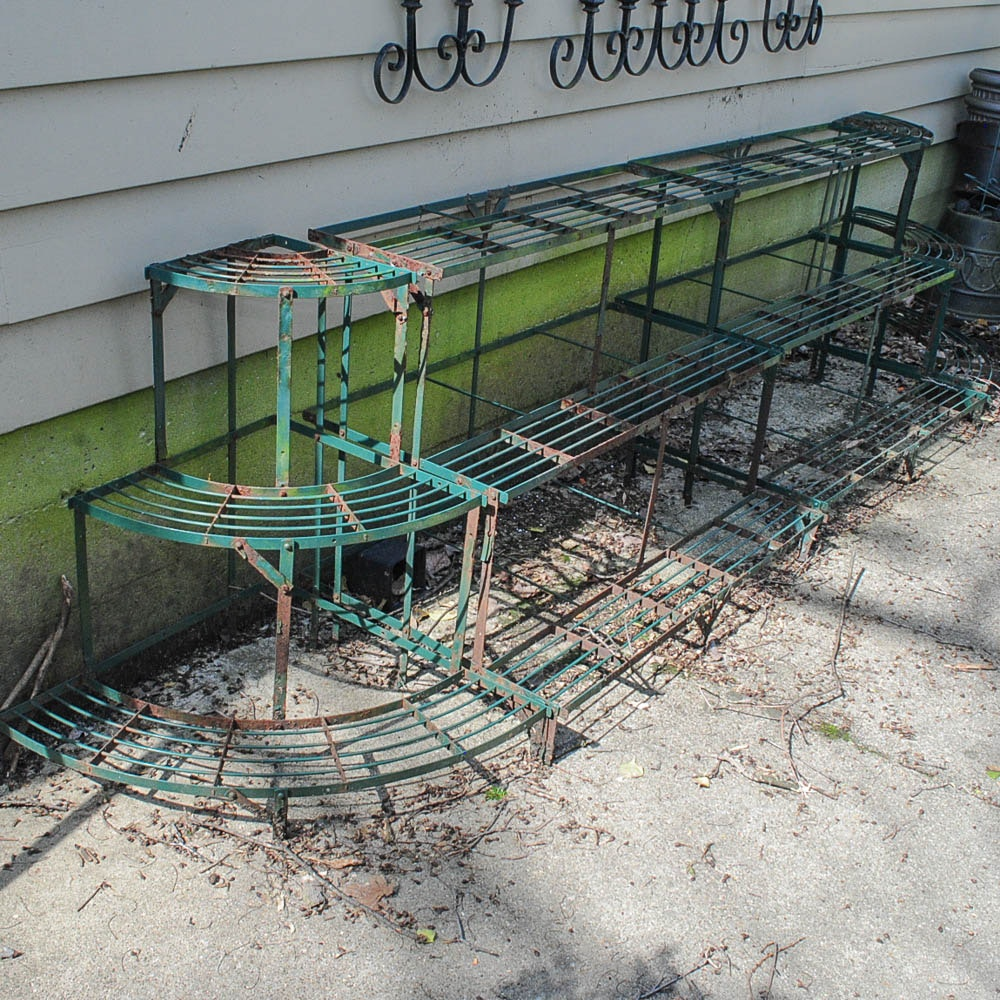 Green Metal Plant Racks