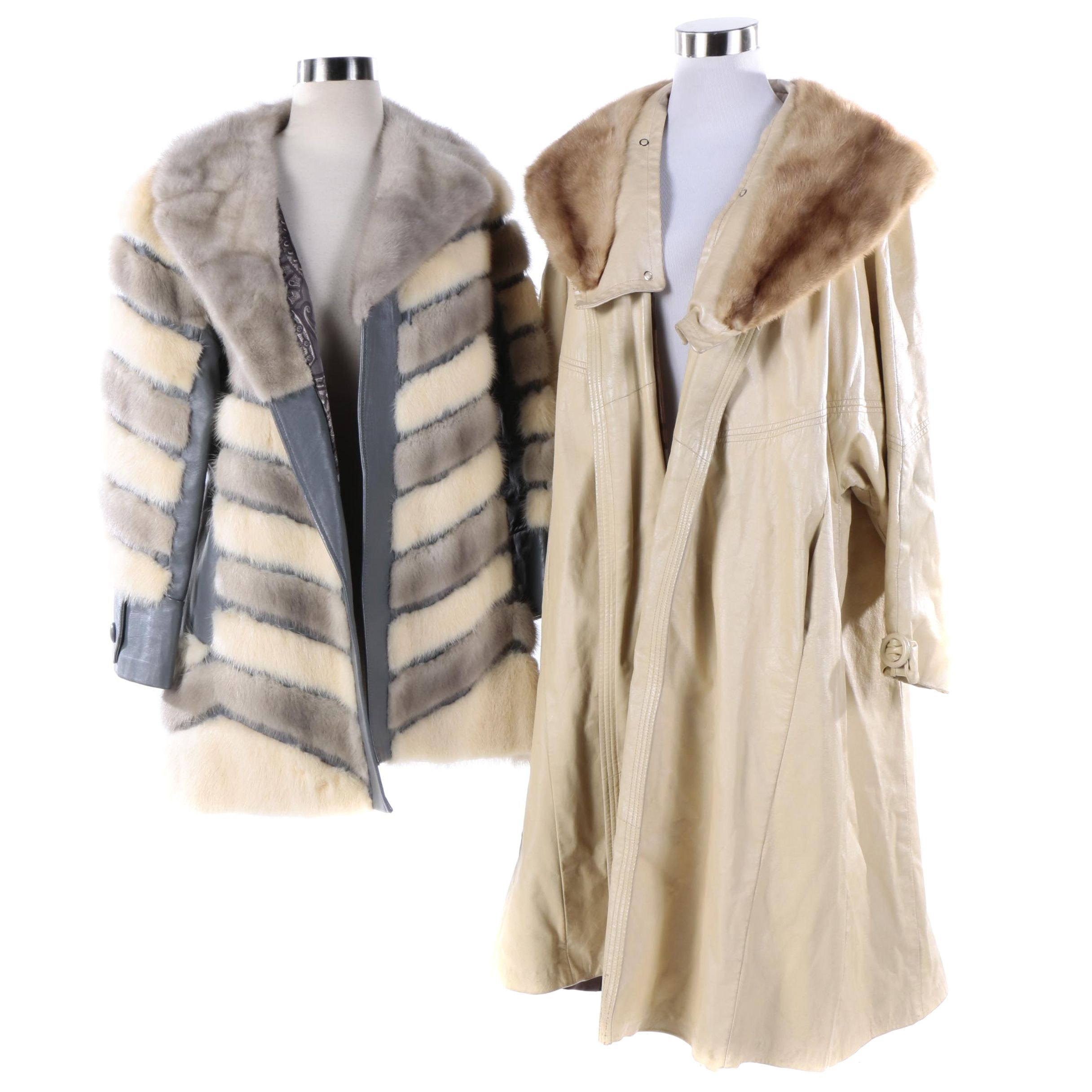 Circa 1970s Vintage Chevron Mink Fur and Beige Leather Coats