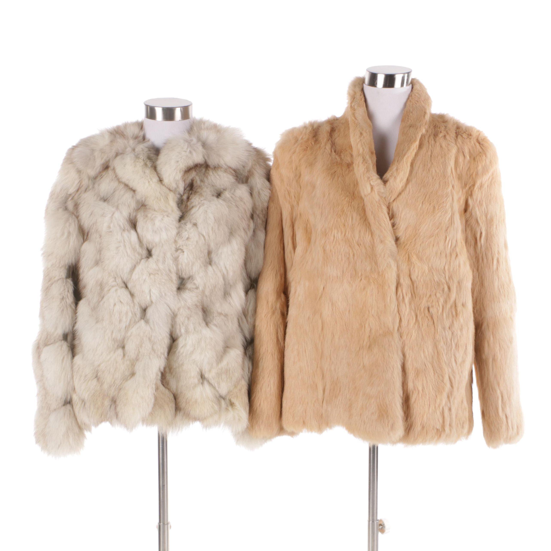 Circa 1970s Vintage Blue Fox and Rabbit Fur Coats