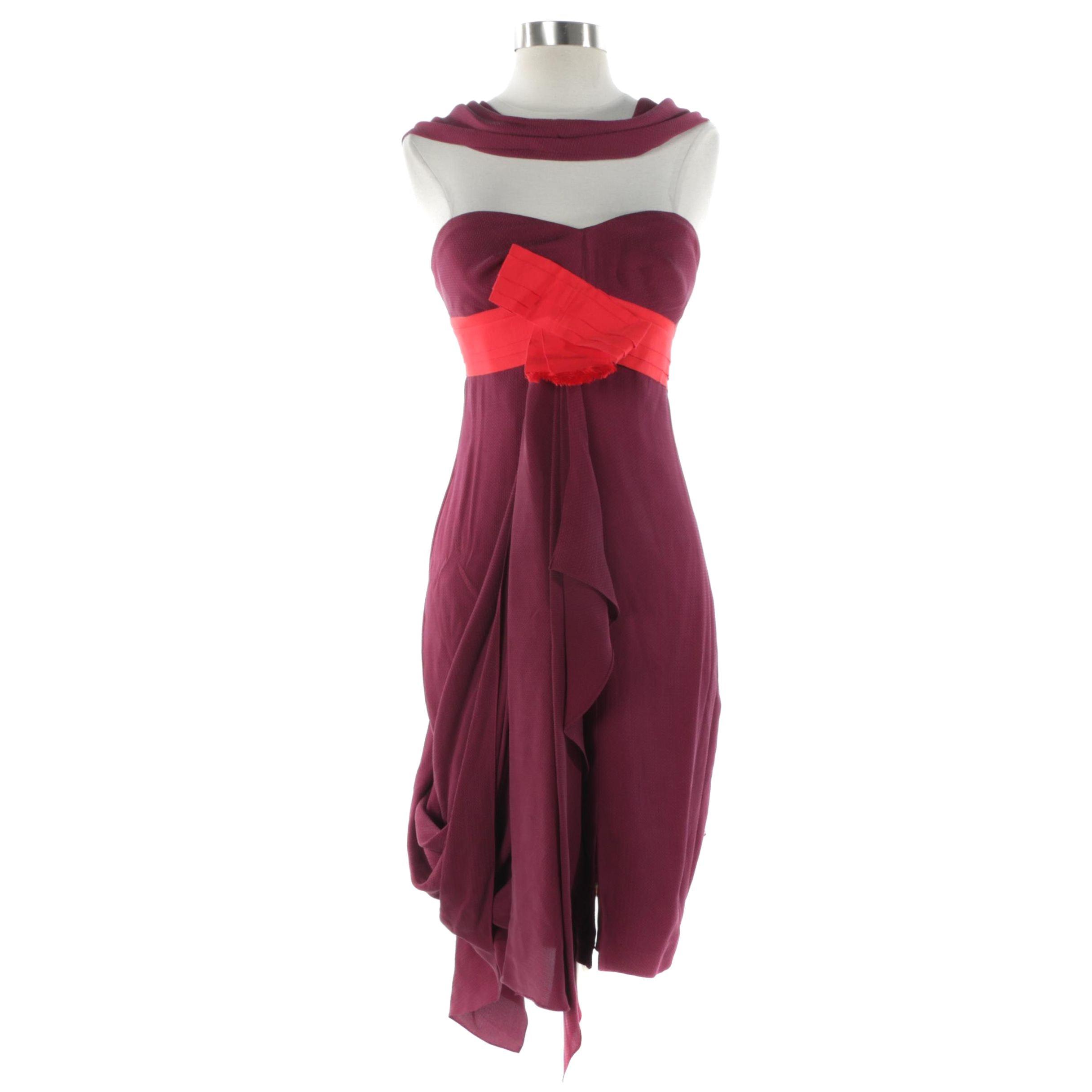 Carolina Herrera New York Silk Chiffon Cocktail Dress
