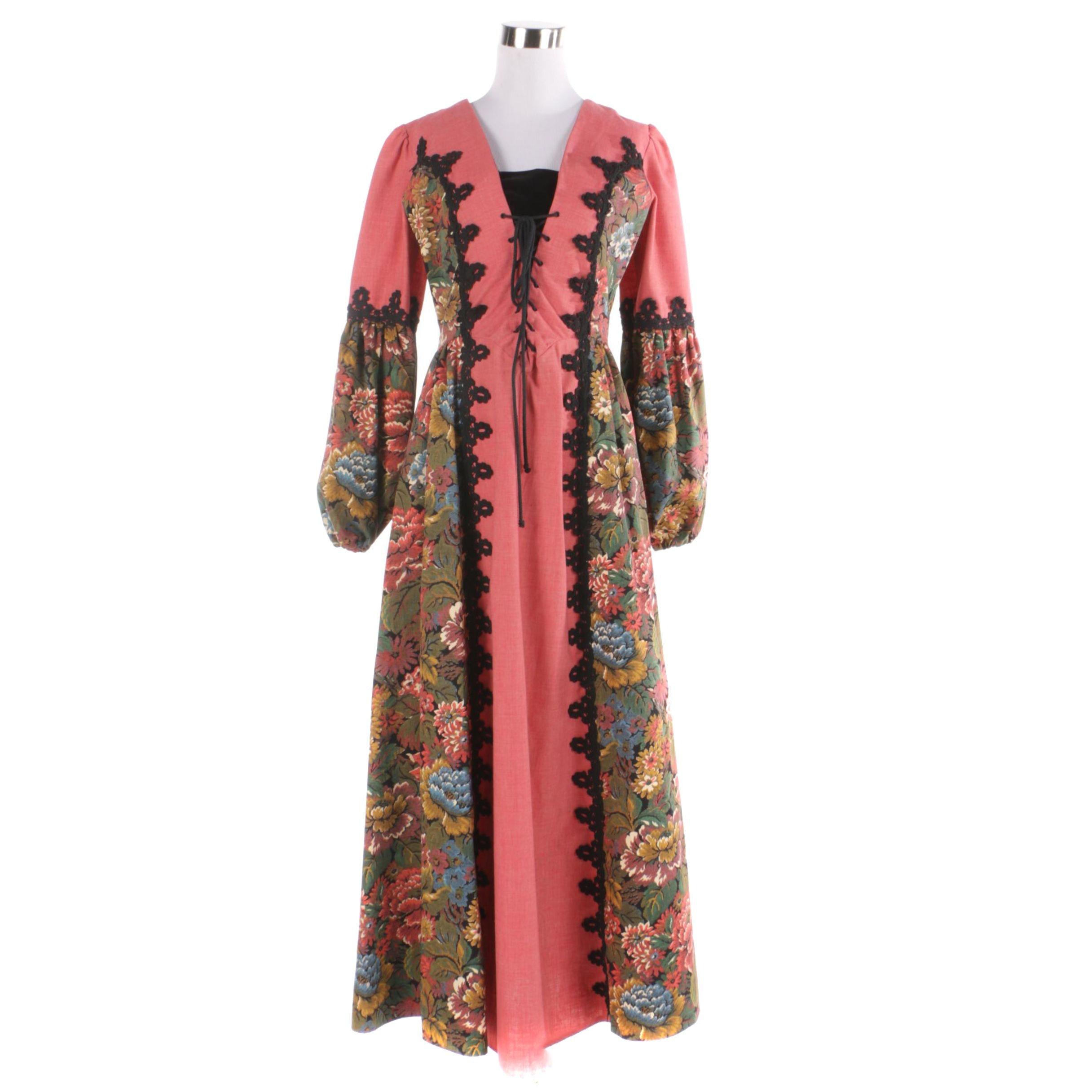 Circa 1969 Gunne Sax Renaissance-Inspired Tapestry Dress