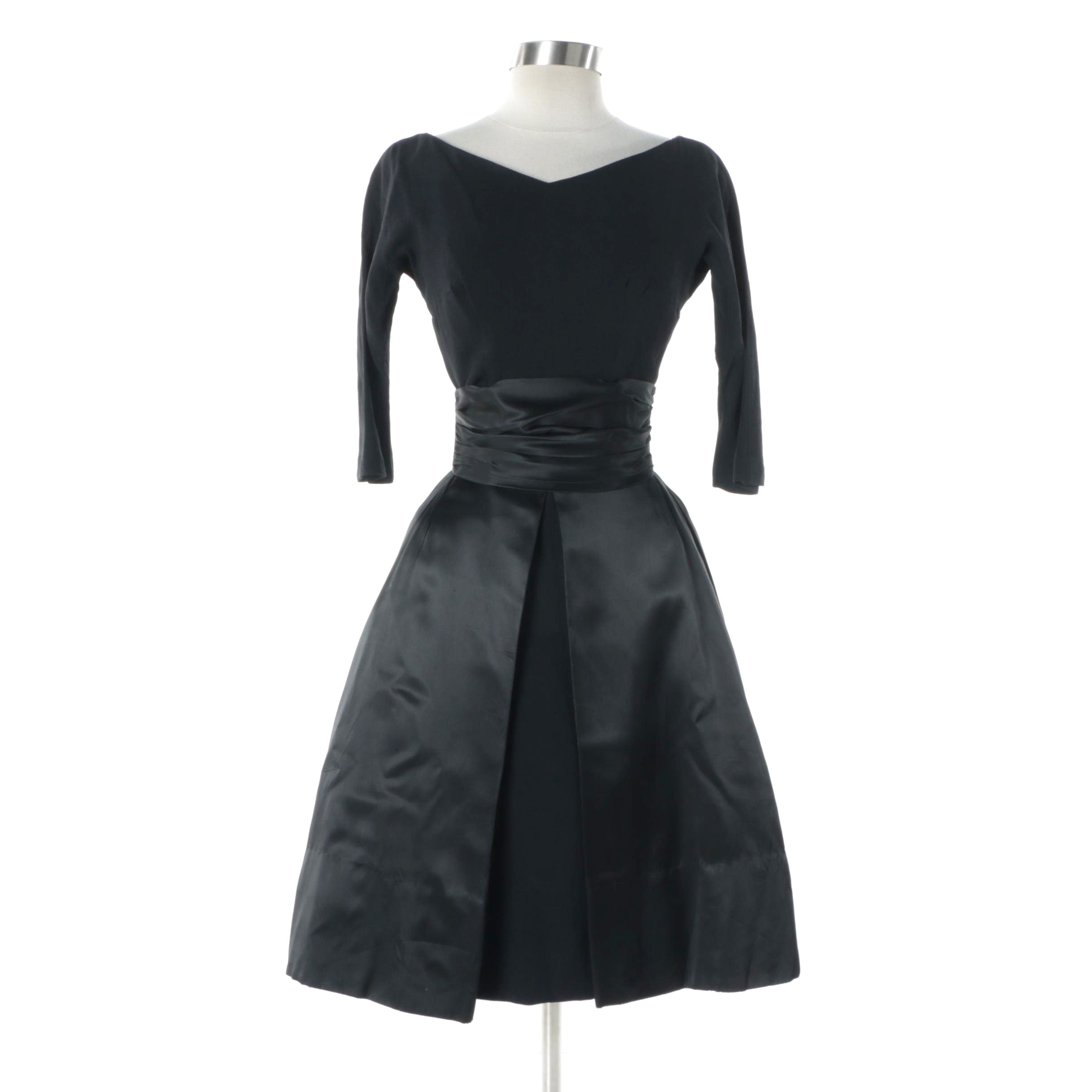 Early 1960s Vintage Gigi Young Black Dress with Petal Skirt