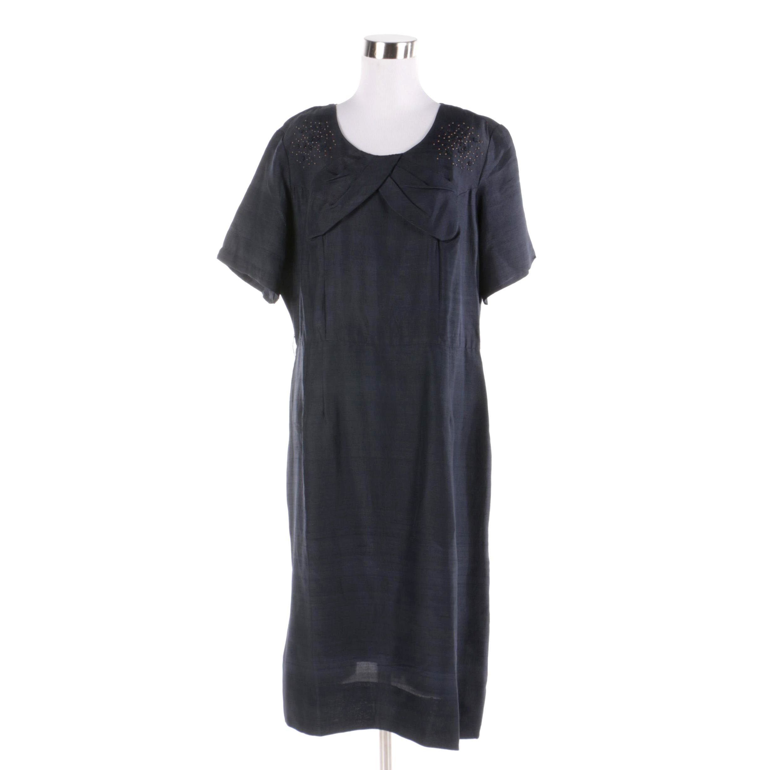 Circa 1940s Vintage Navy Duponi Silk Beaded Dress