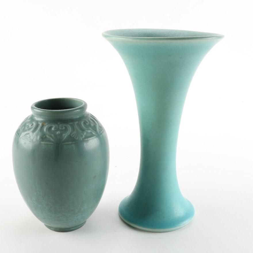 Rookwood Blue Ceramic Vases Ebth