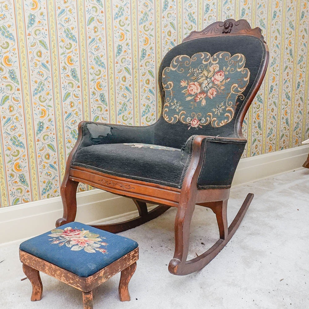 Victorian Needlepoint Rocking Chair With Footstool ...