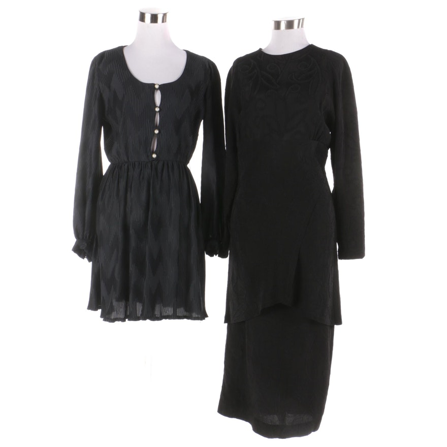 Vintage Gail Blacker NYC and Saks Fifth Avenue Black Pleated Dresses ...