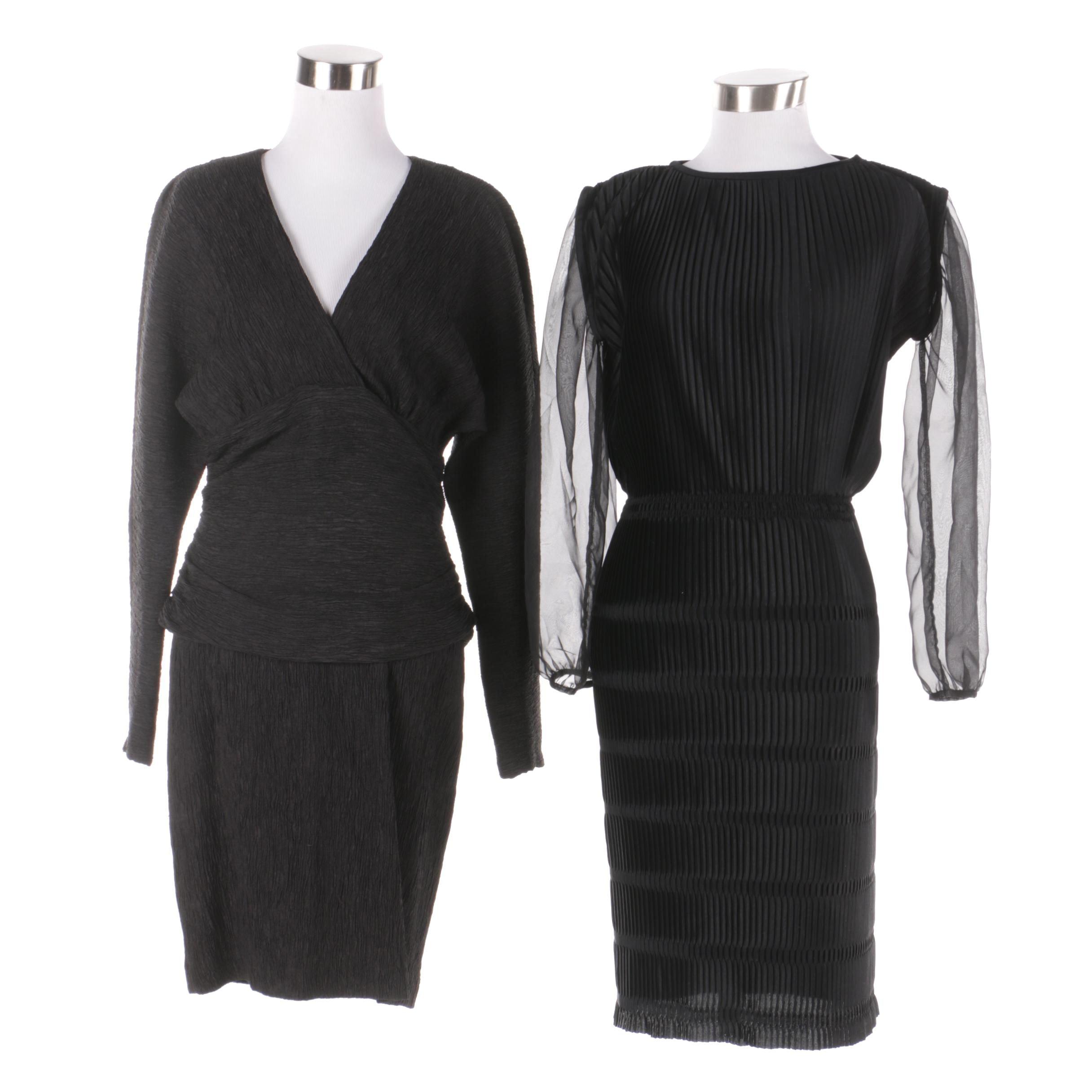 1980s Vintage Emanuel Ungaro and Sara Lyn Black Pleat Dresses
