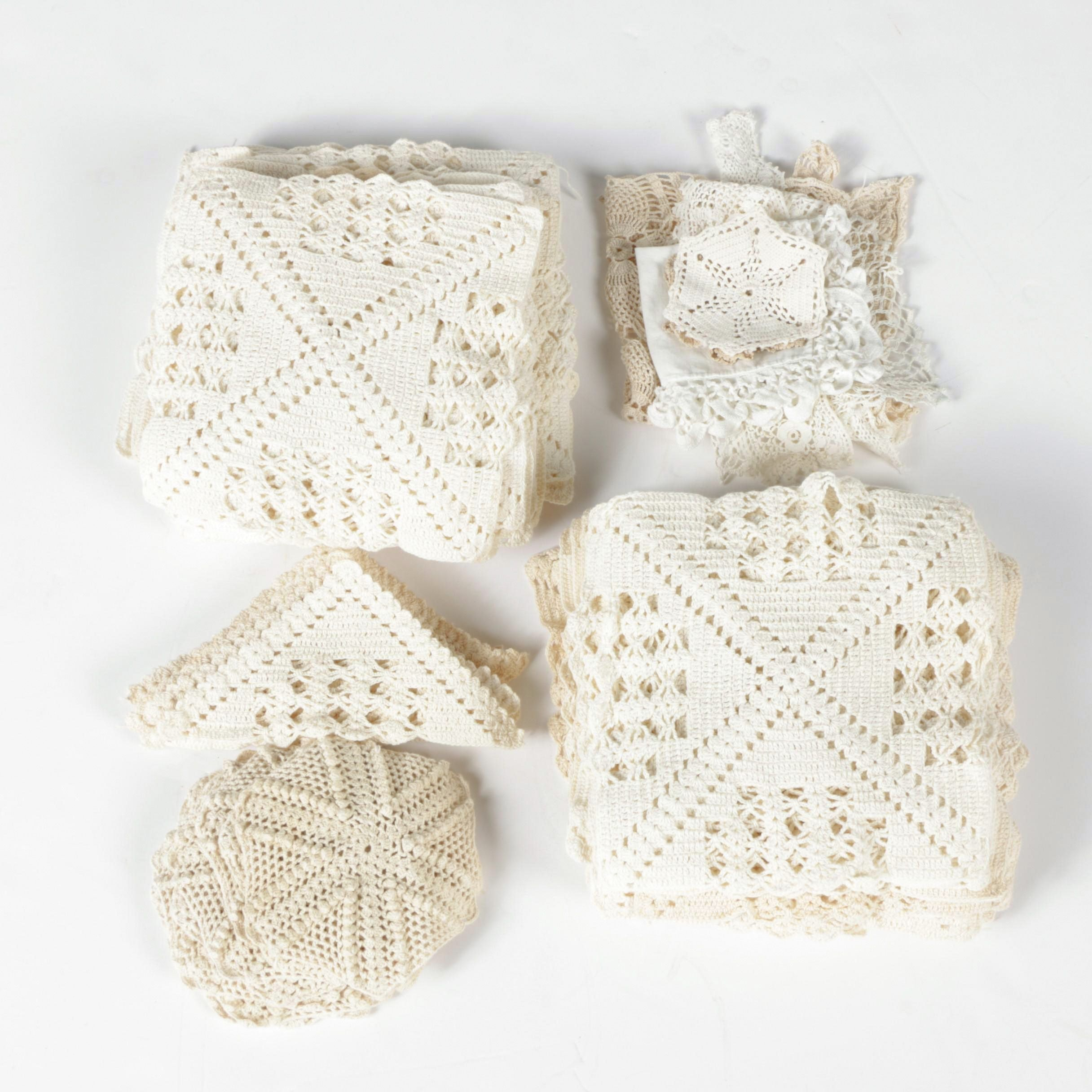 Large Collection of Vintage Crochet Doilies
