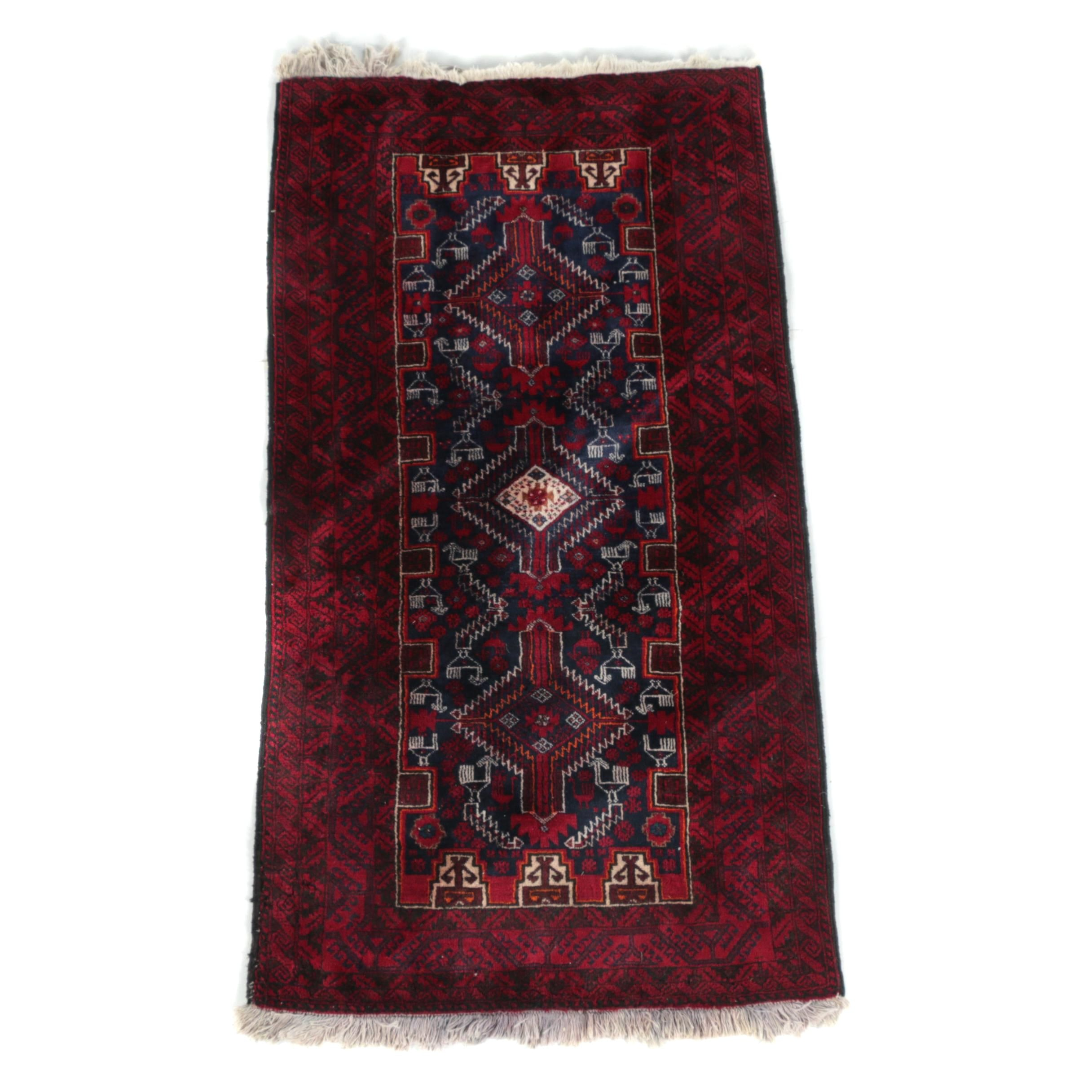 Hand-Knotted Baluch Wool Accent Rug