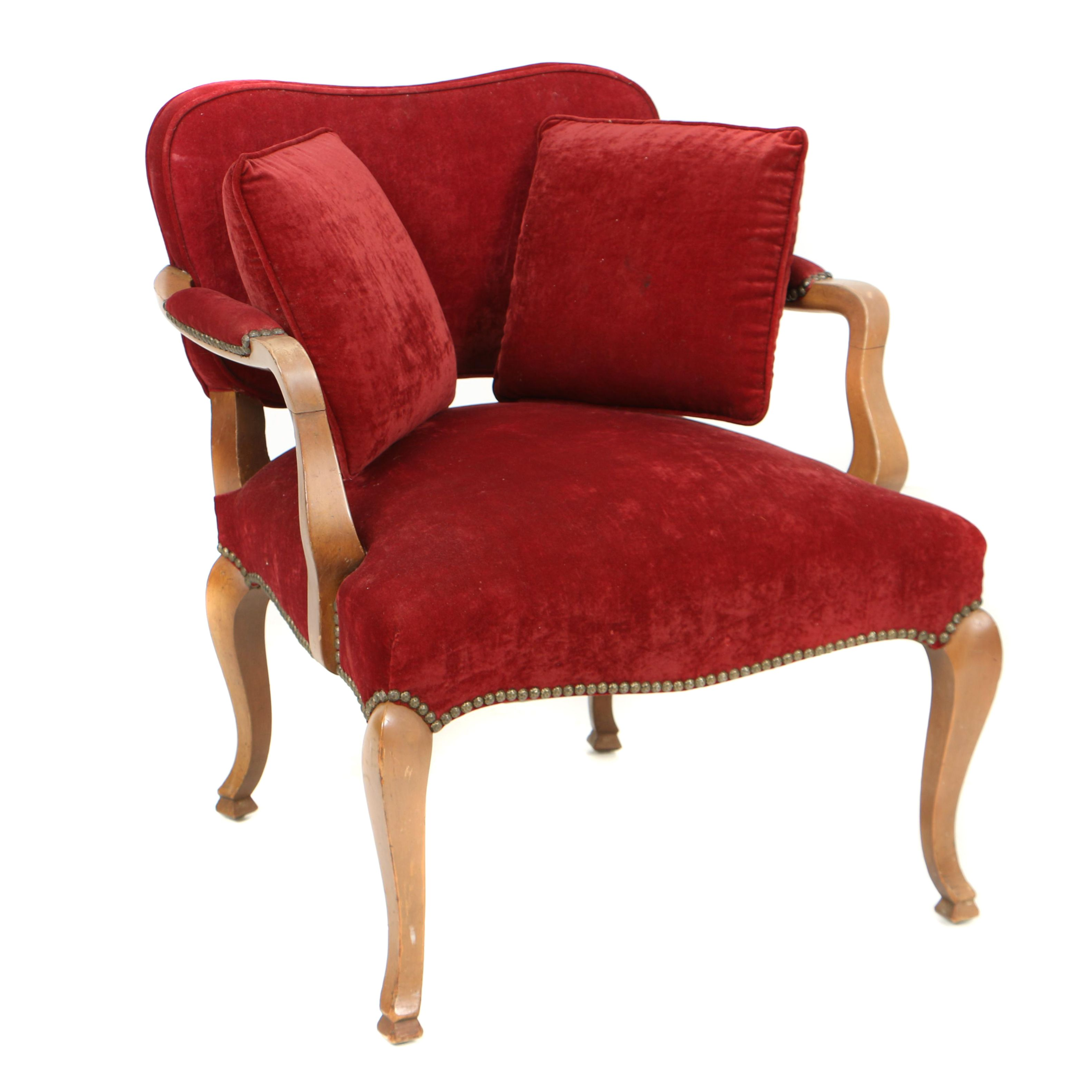 Vintage provincial louis xv style low back fauteuil