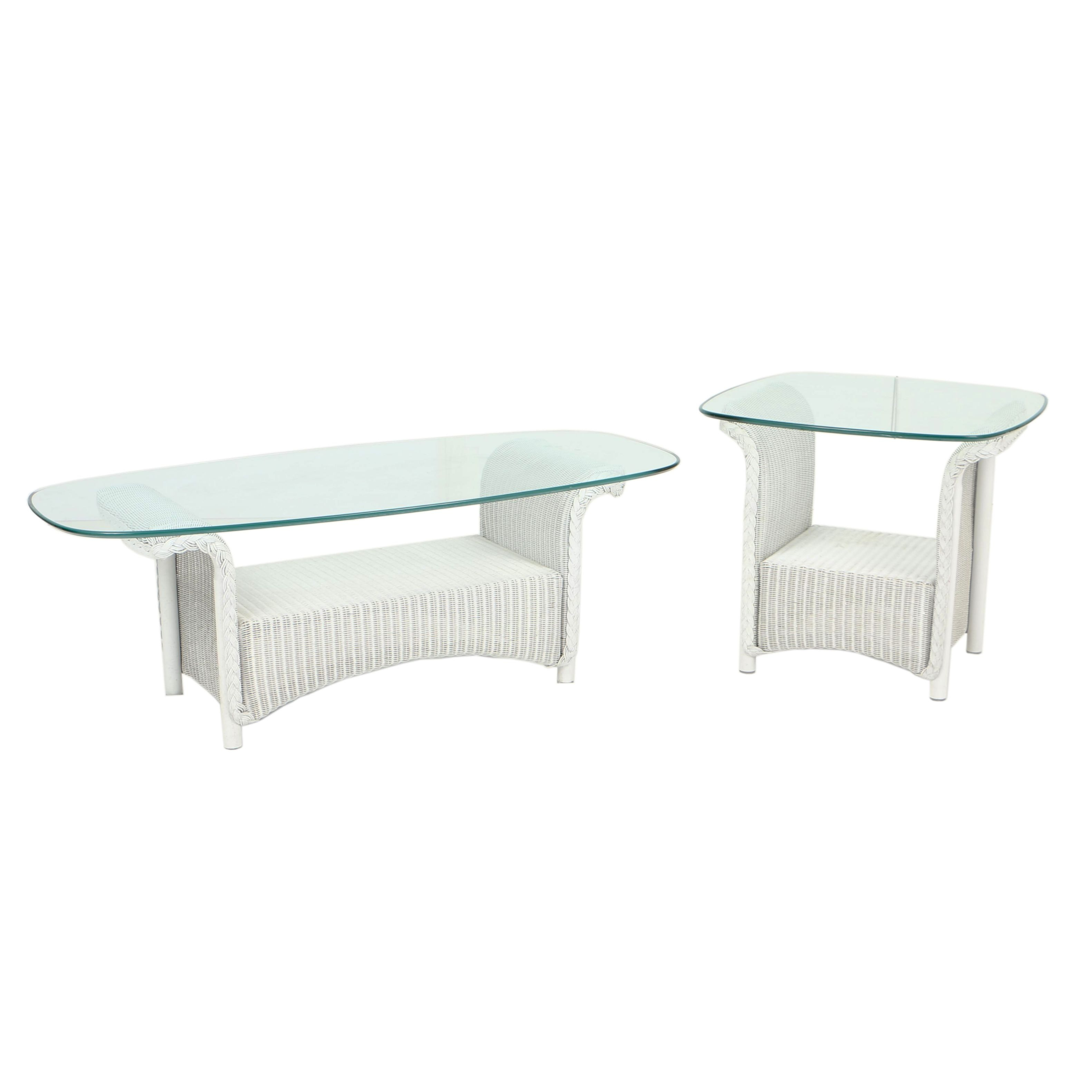 White Wicker Patio Coffee Table and Side Table with Glass Tops