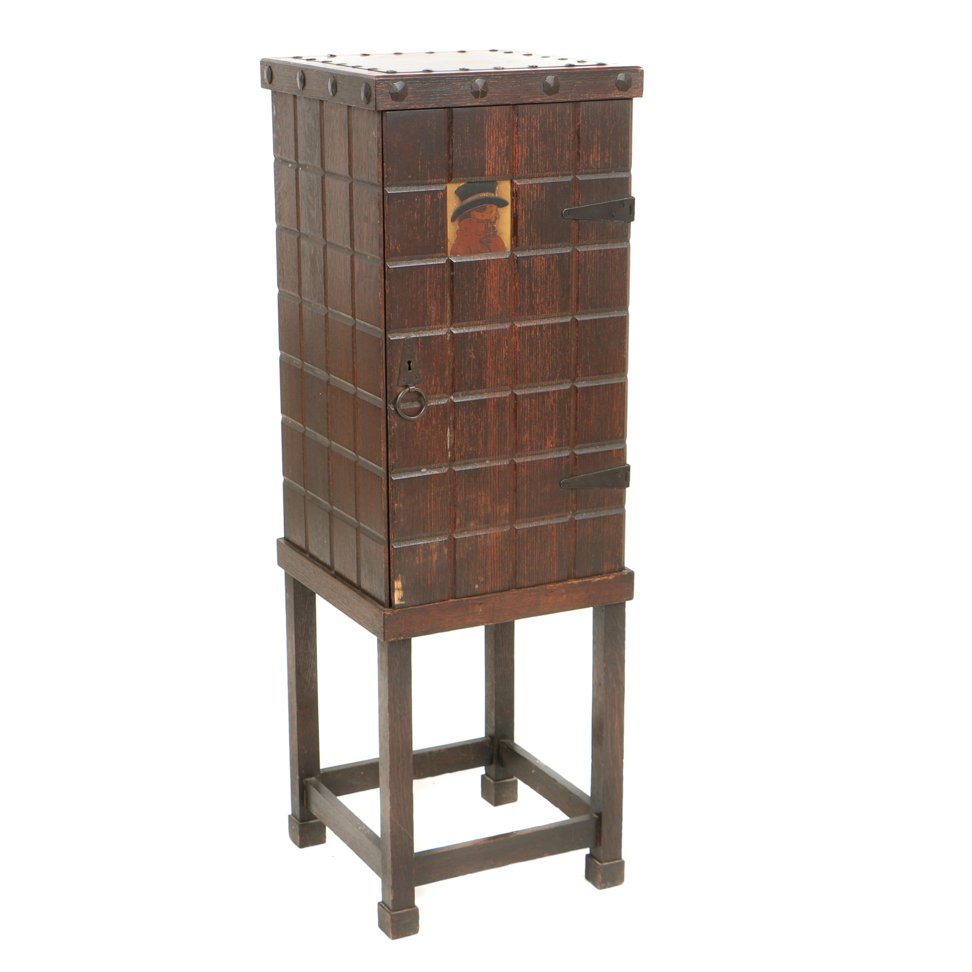 Early 20th Century Arts and Crafts Oak Smoker's Cabinet