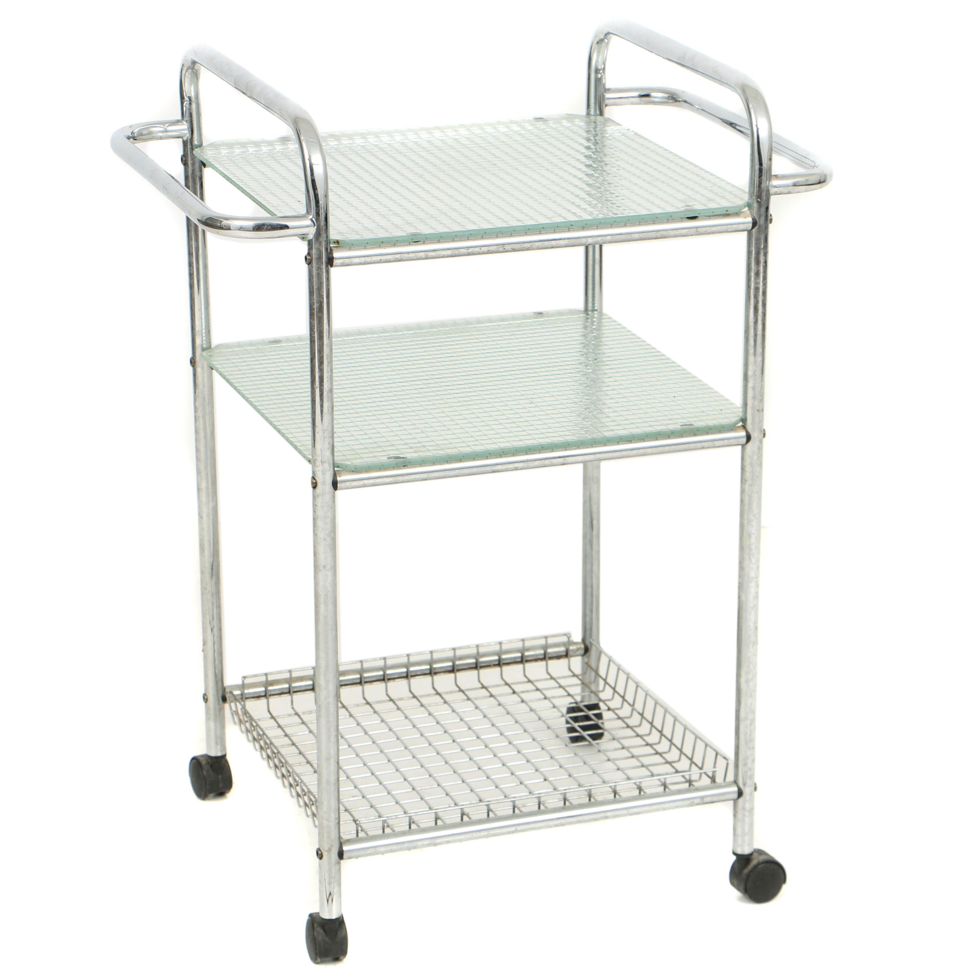 Vintage Modernist Style Chrome Serving Cart with Glass Shelves
