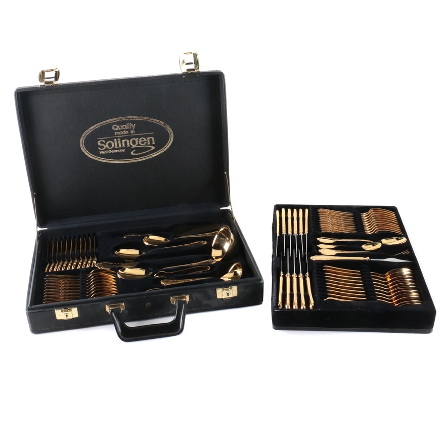 Solingen West Germany Gold-Plated Stainless Flatware Set : EBTH