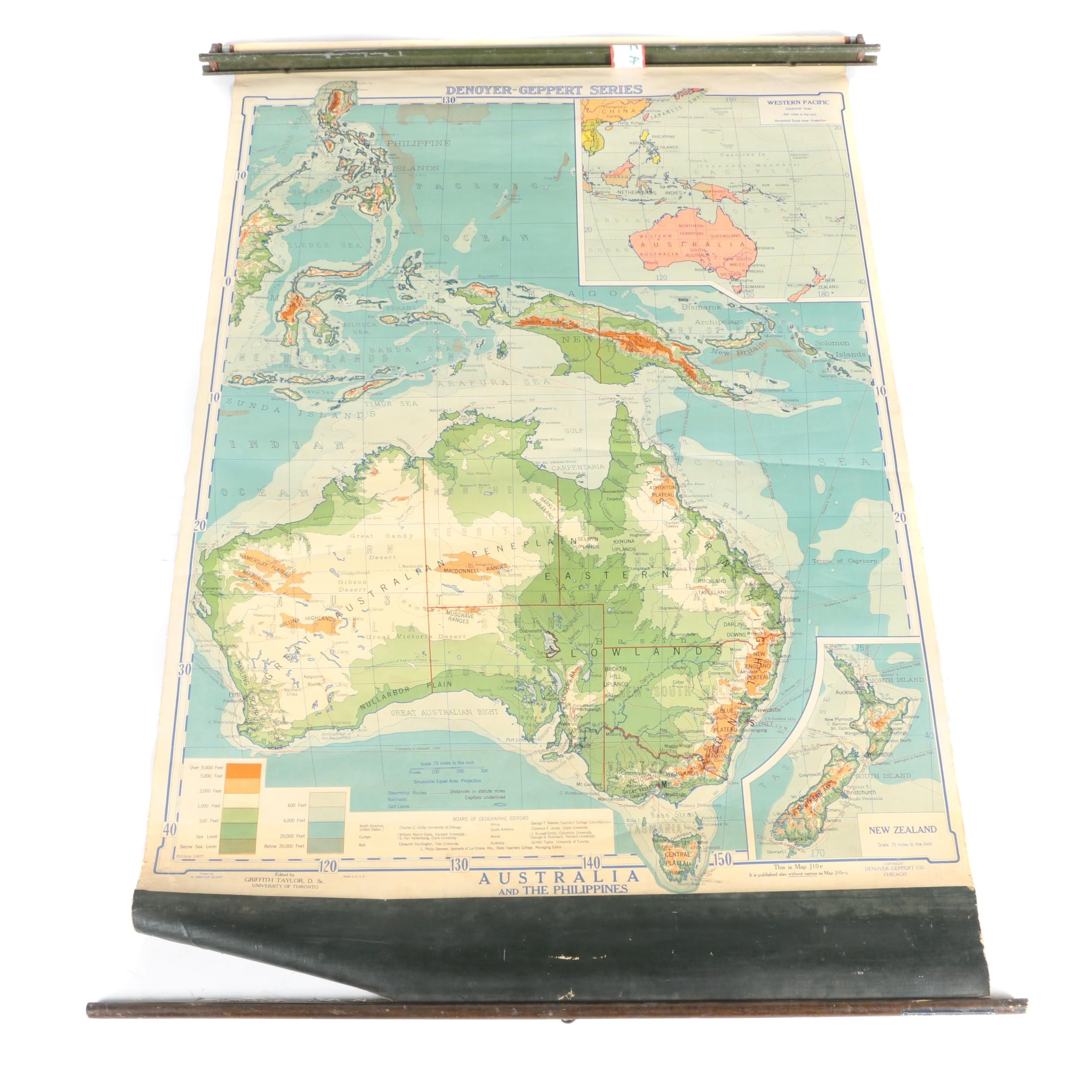 Vintage Wall Map of Australia, New Zealand, and the Philippines