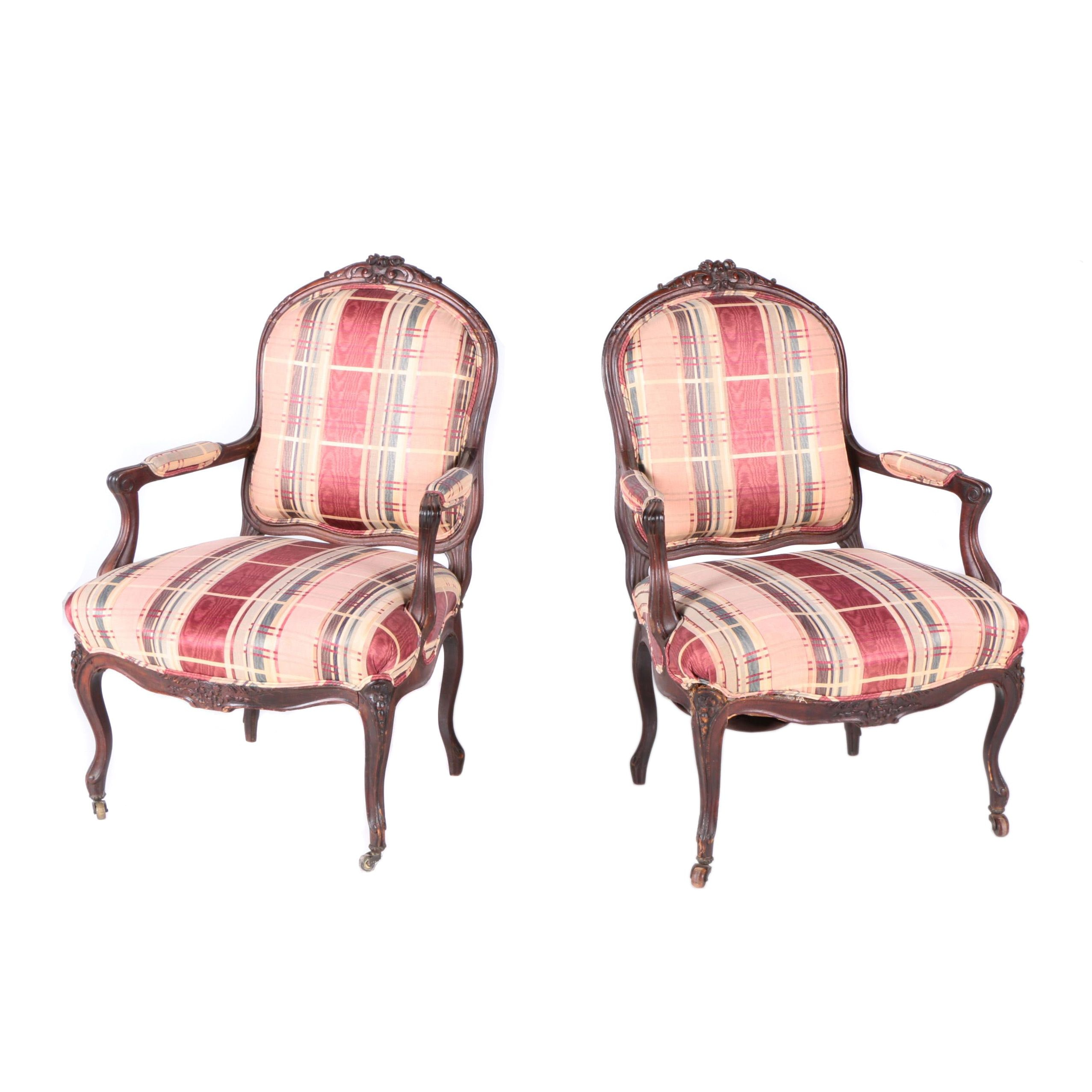 Two Antique Louis XV Style Fauteuil