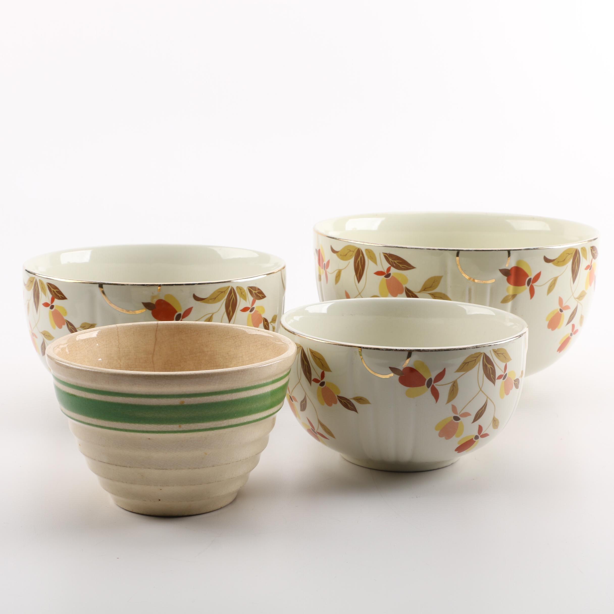 "Hall ""Autumn Leaf"" Nesting Bowl Set and Striped Bowl"