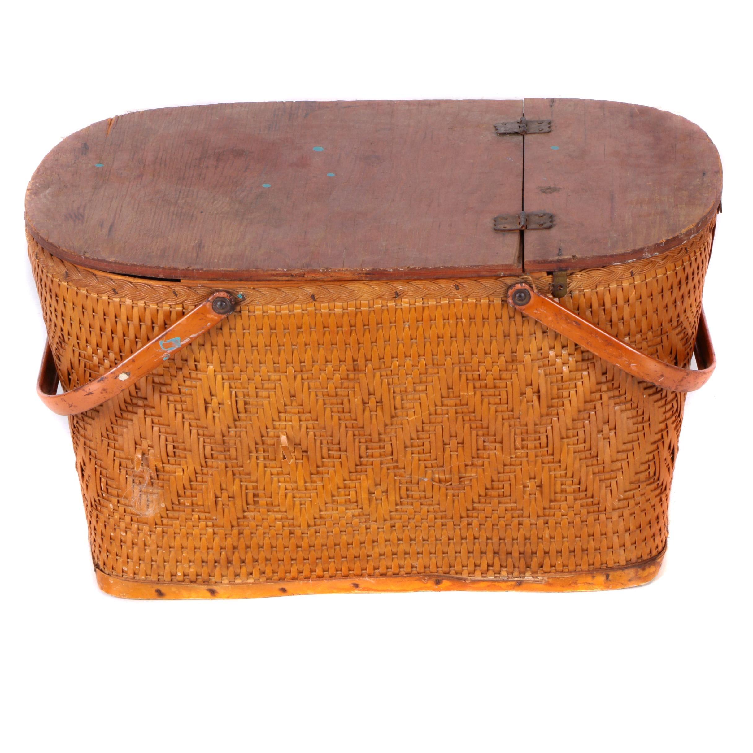 Vintage Woven Reed Picnic Basket