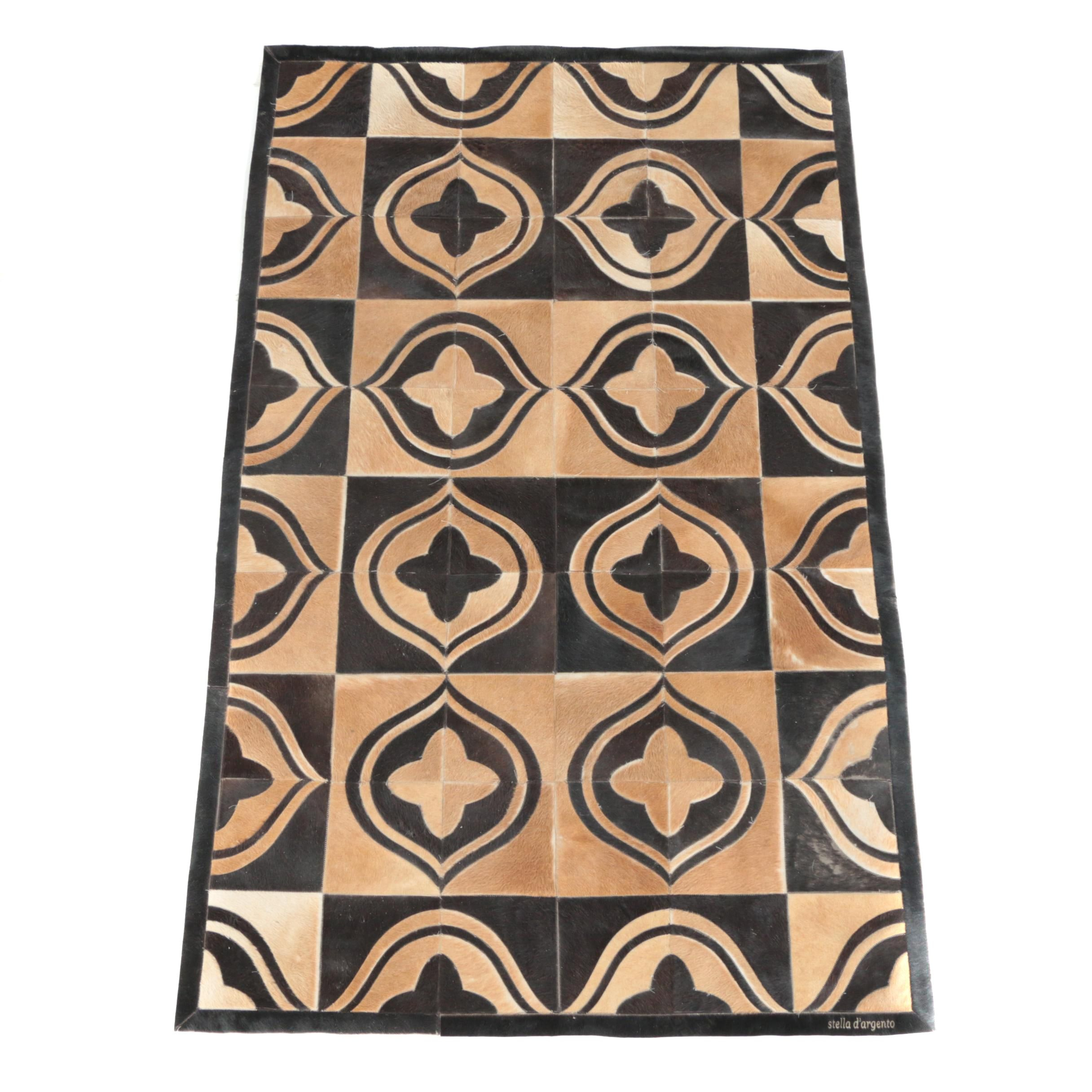 Handmade Argentinian Patchwork Cowhide Area Rug by Stella D'Argento