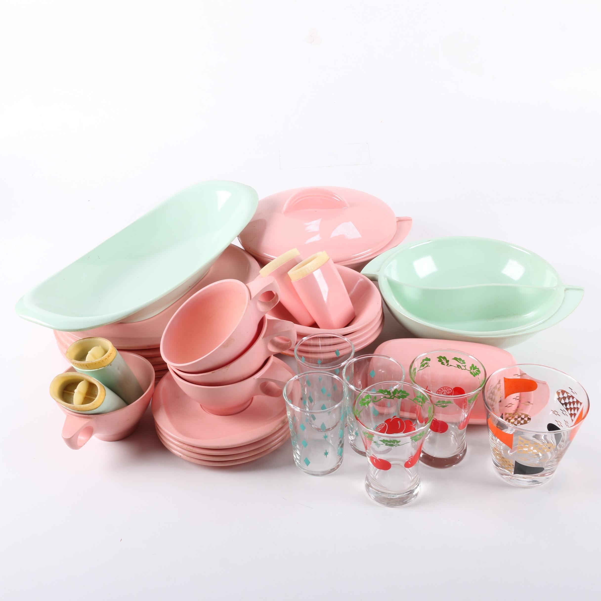 Vintage Melamine Tableware and Glass Tumblers