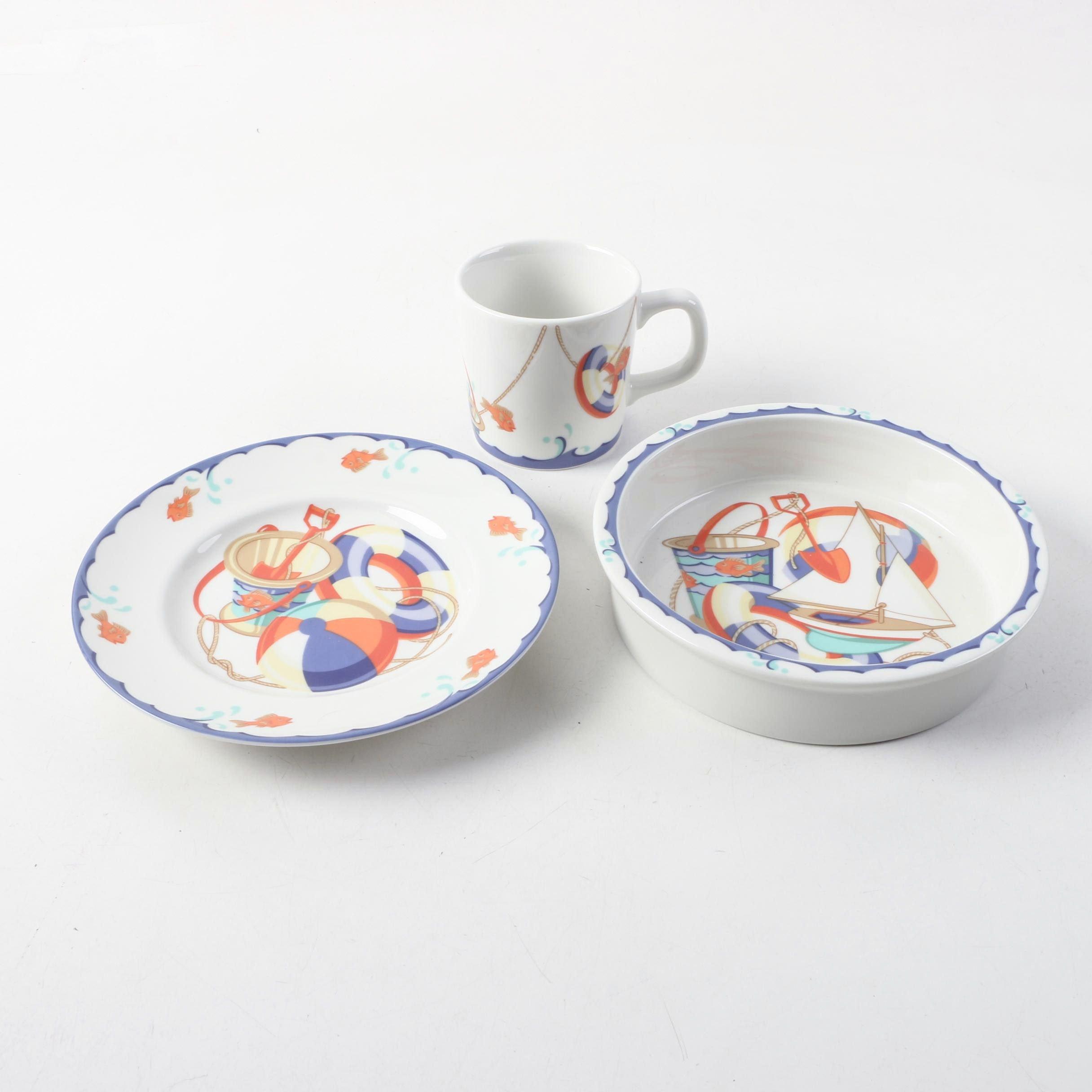 "Tiffany & Co. ""Tiffany Seashore"" Plate, Bowl and Mug"