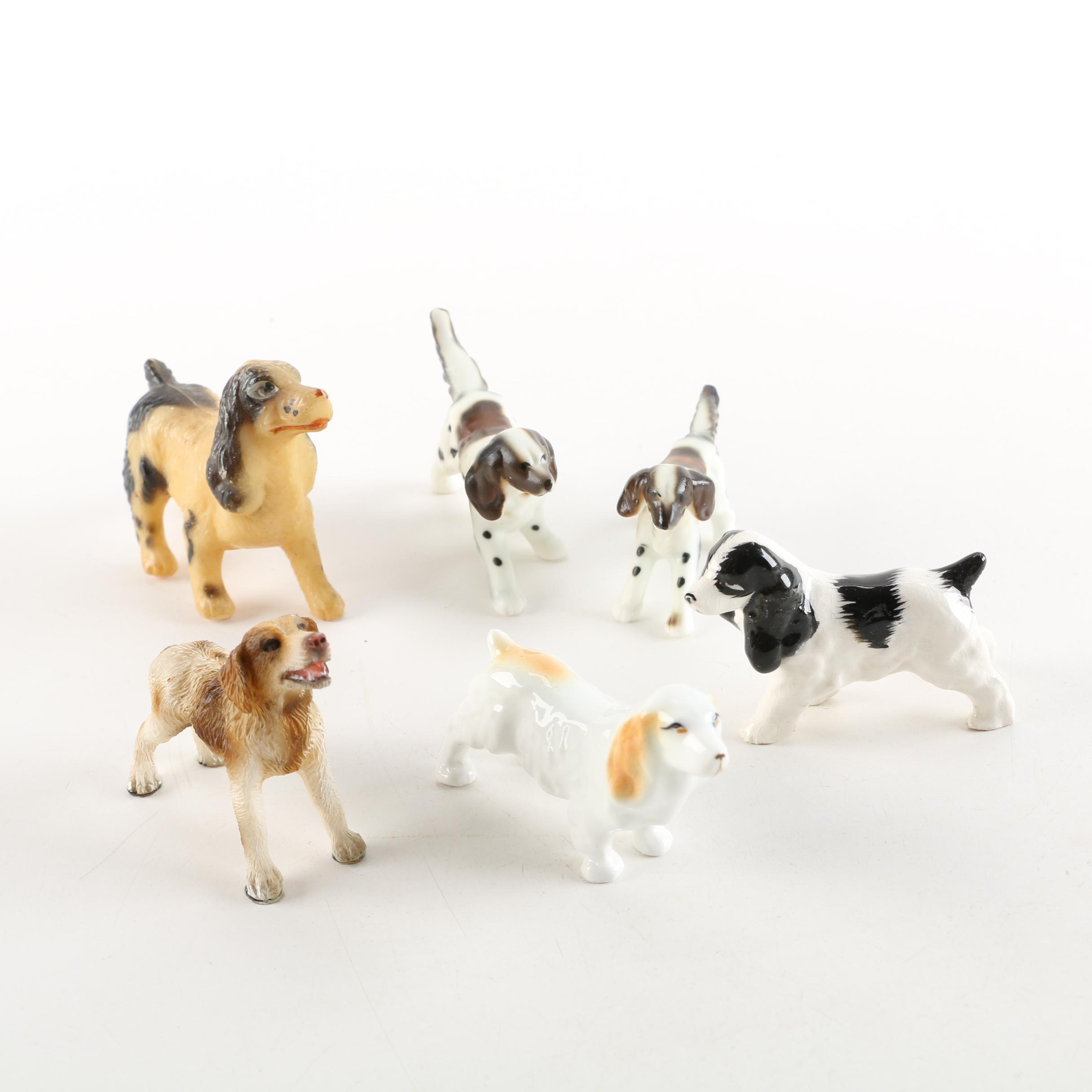 Porcelain and Plastic Dog Figurines